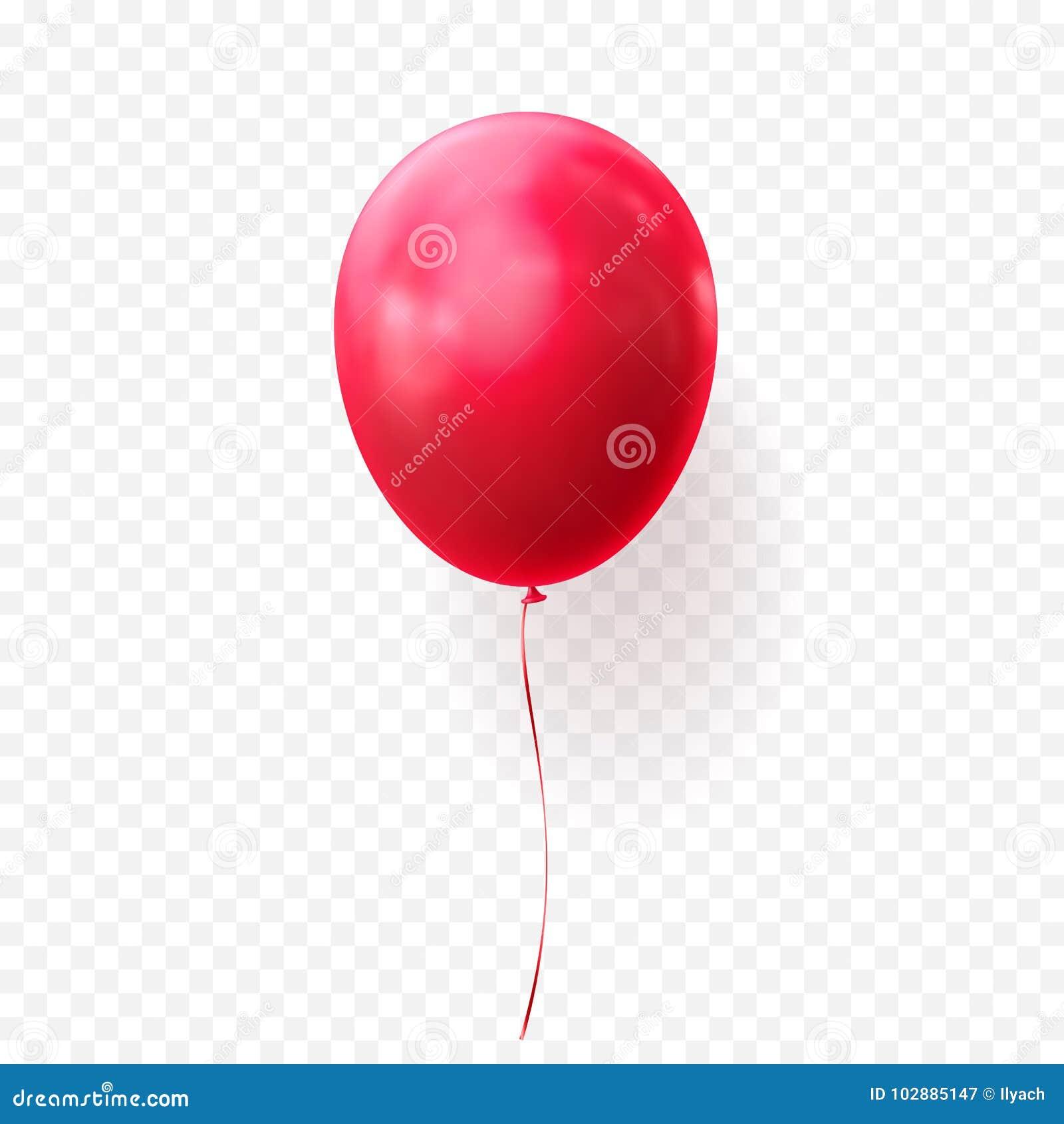 Baloon realístico lustroso do fundo transparente vermelho do vetor do balão para a festa de anos