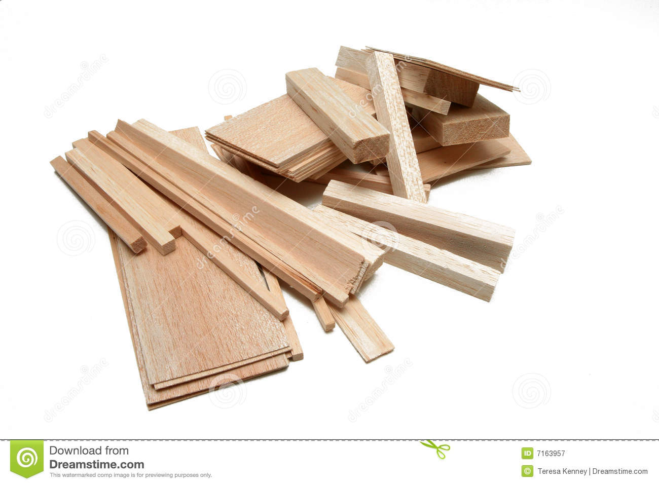 Balsa wood stock image of material craft sizes