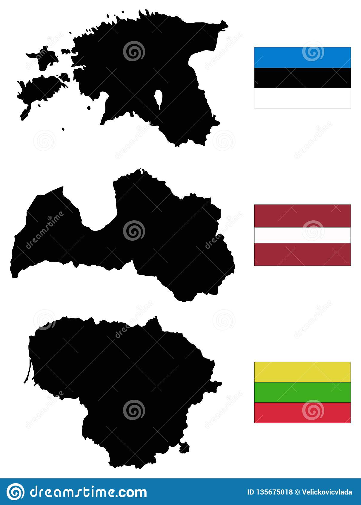 Baltic Countries Map With Flags - Baltic States, Baltic ...