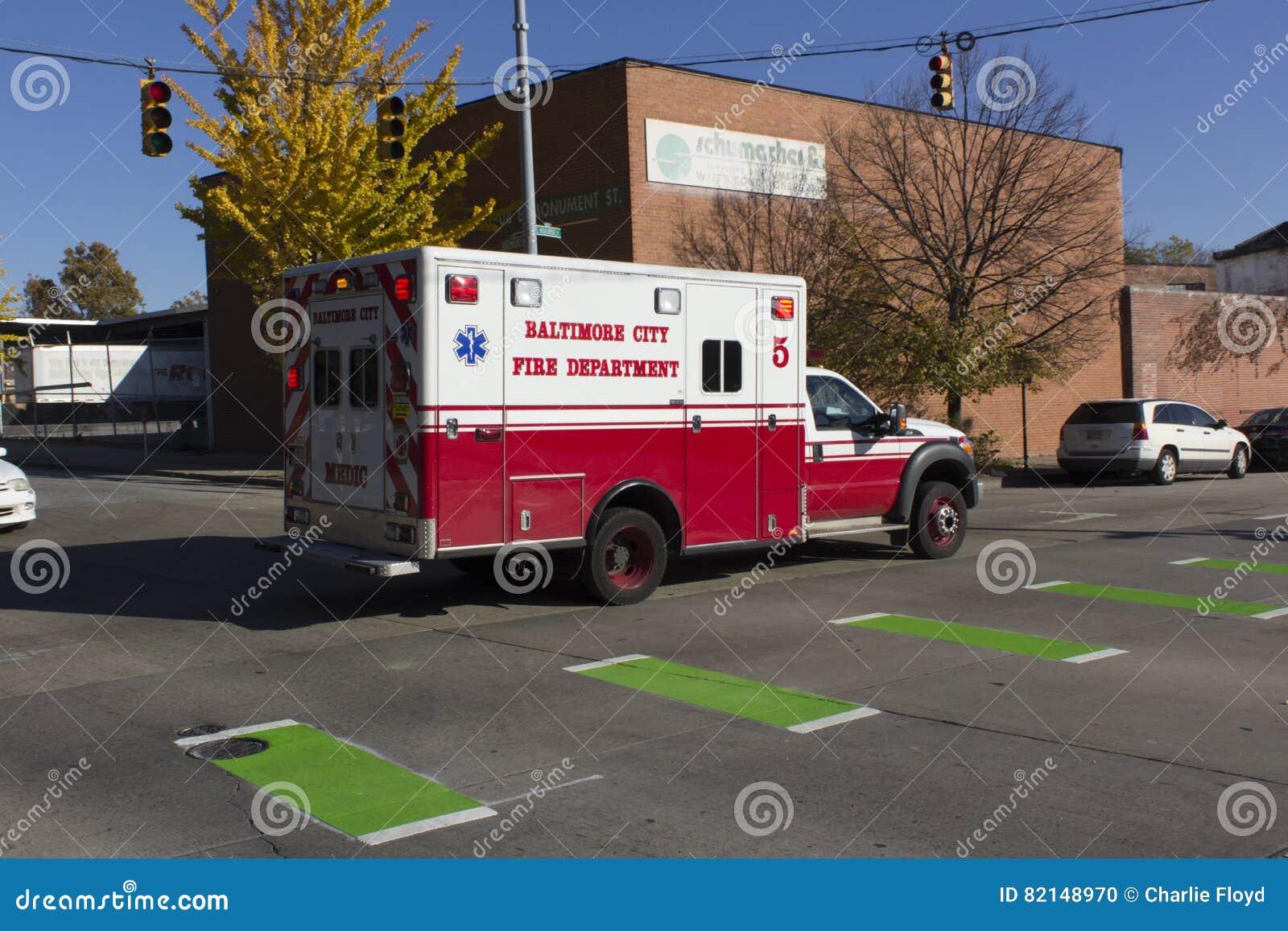 Baltimore FD ambulance on a call