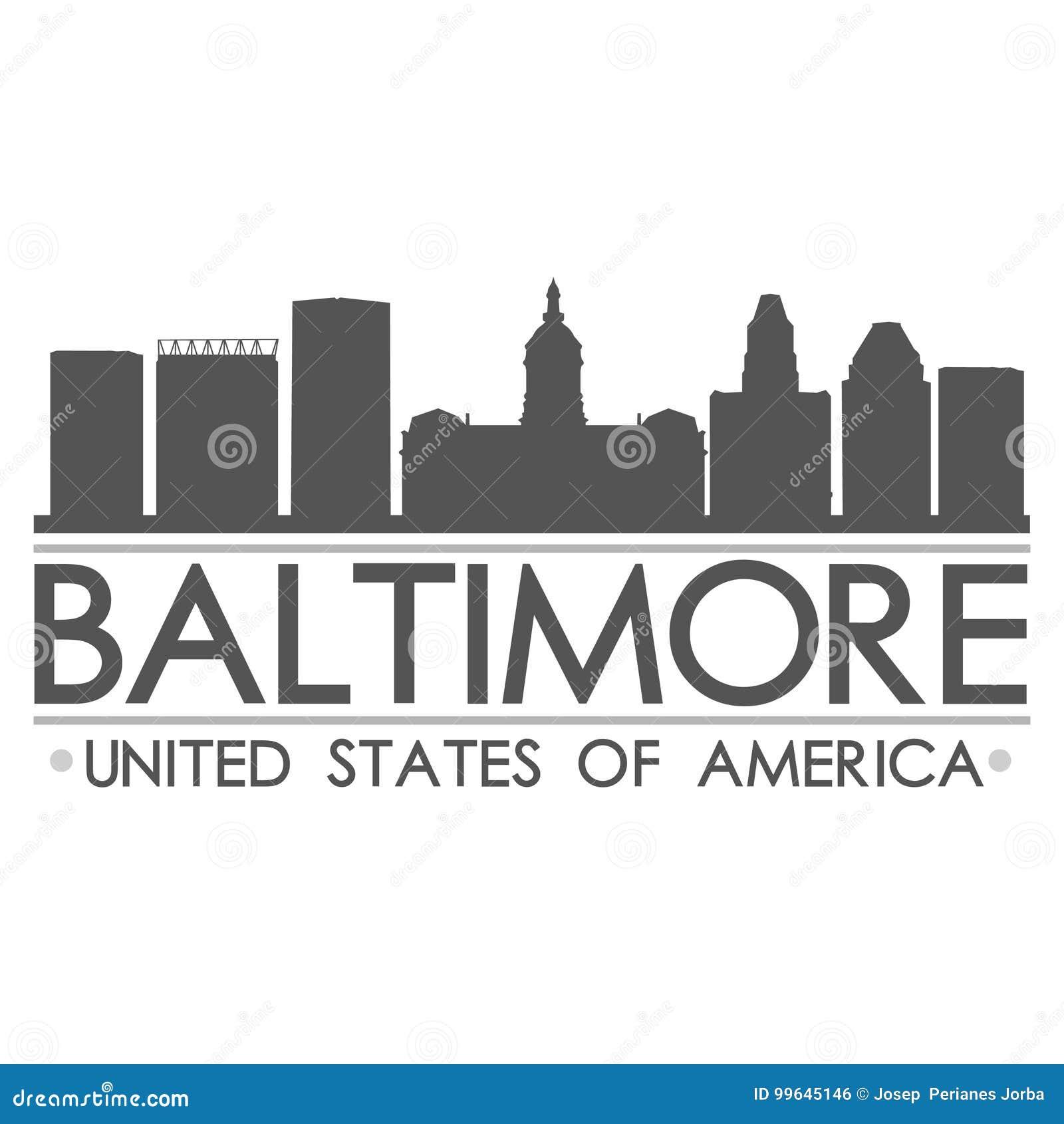 Baltimore linii horyzontu sylwetki projekta miasta wektoru sztuka