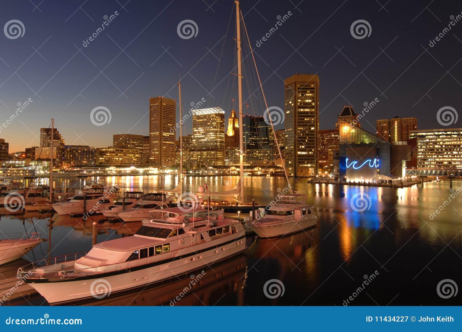 Baltimore Marina At Night