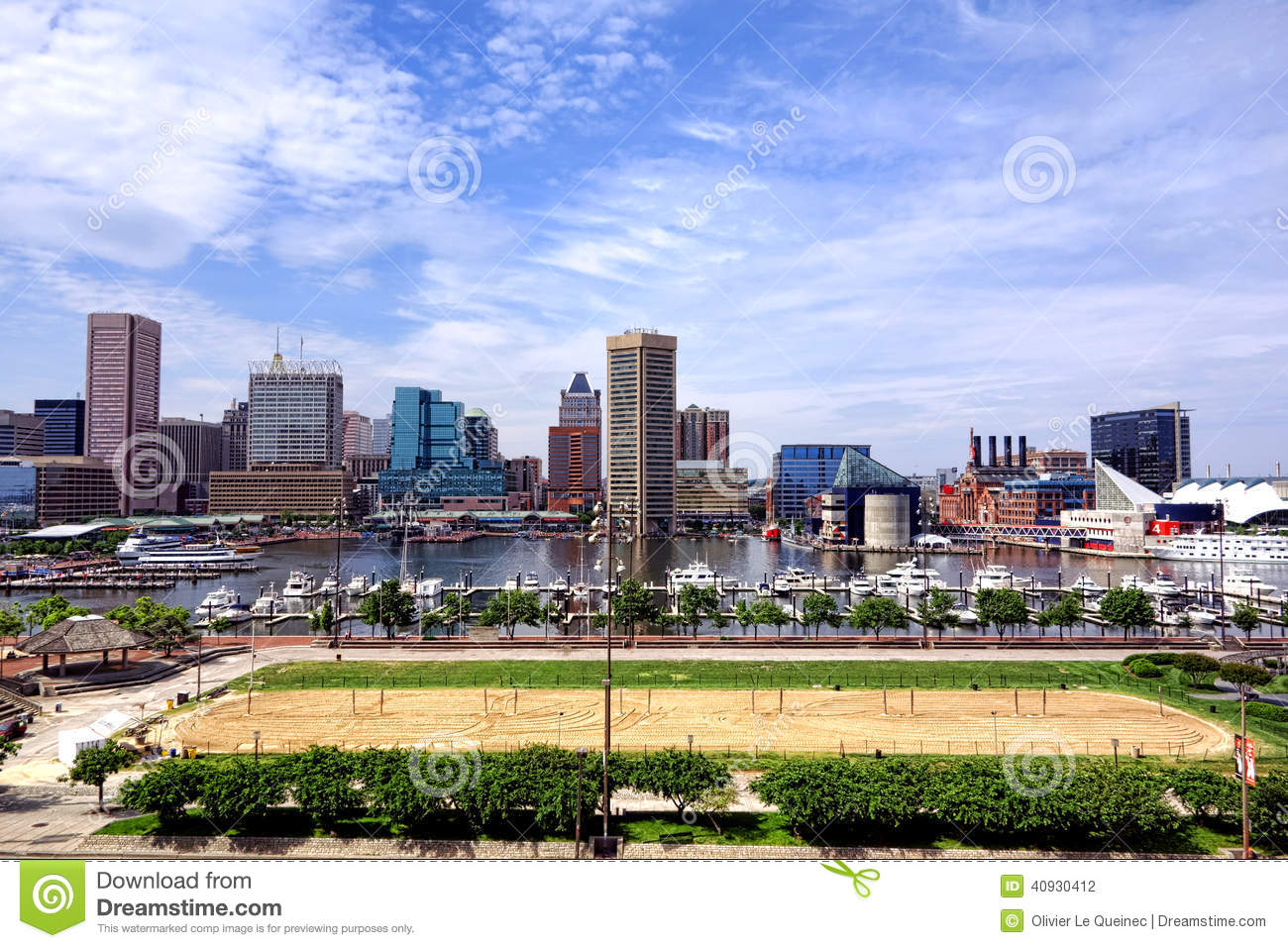 Baltimore Maryland Inner Harbor Skyline and Beach