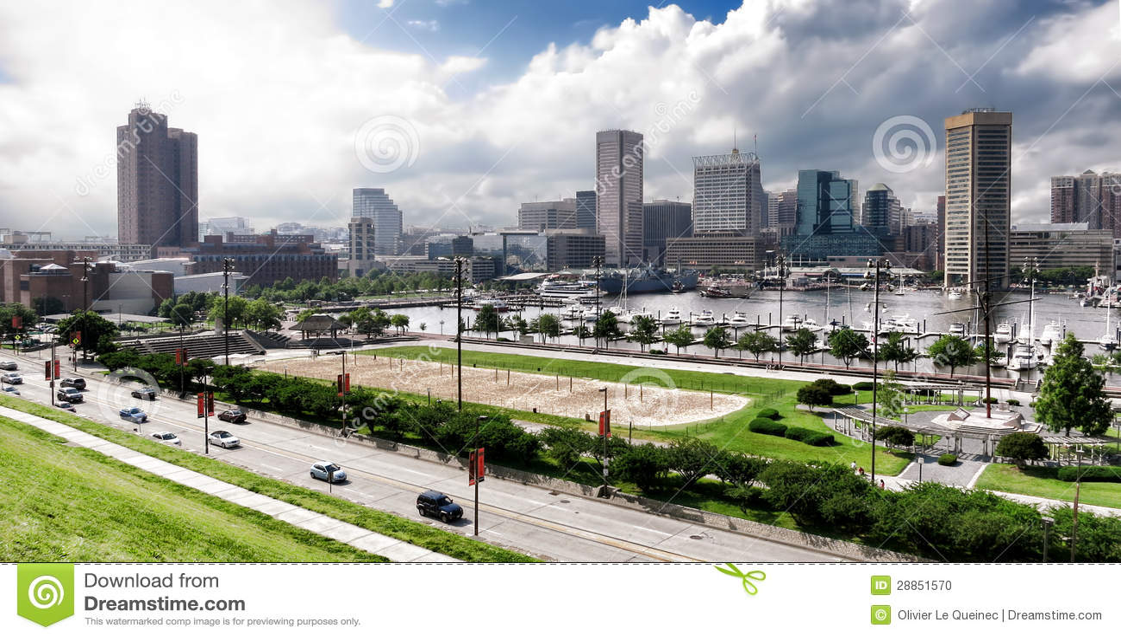 Baltimore Maryland Inner Harbor Skyline and Park