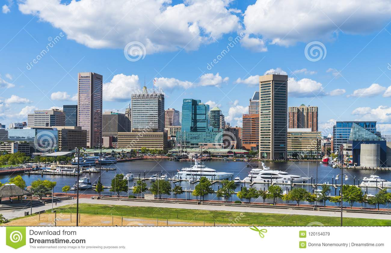 Baltimore,maryland,usa. 09-07-17 : Baltimore skyline on sunny d