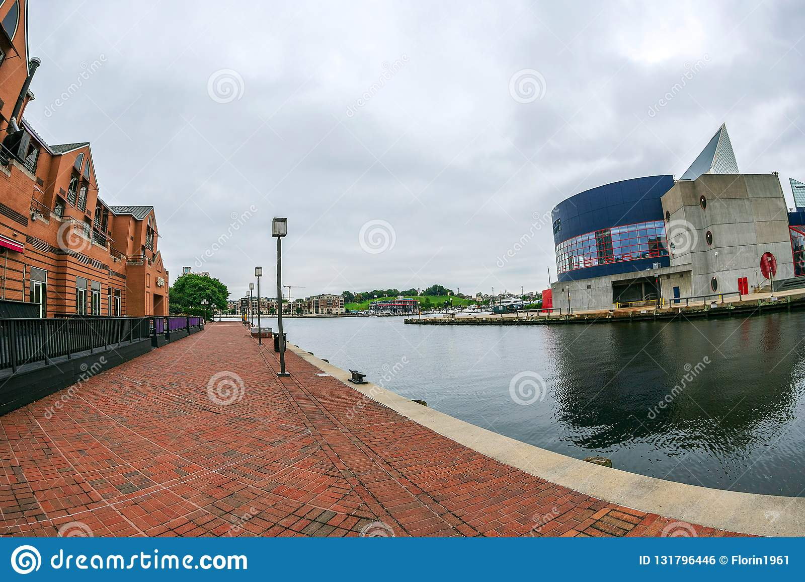 The Waterfront Promenade at the Inner Harbor with large angle view of Potapsco river. National