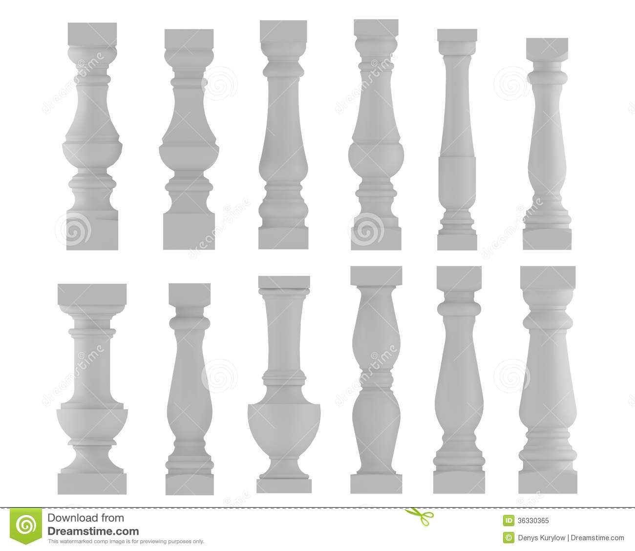 Baluster Various Types And Styles Royalty Free Stock