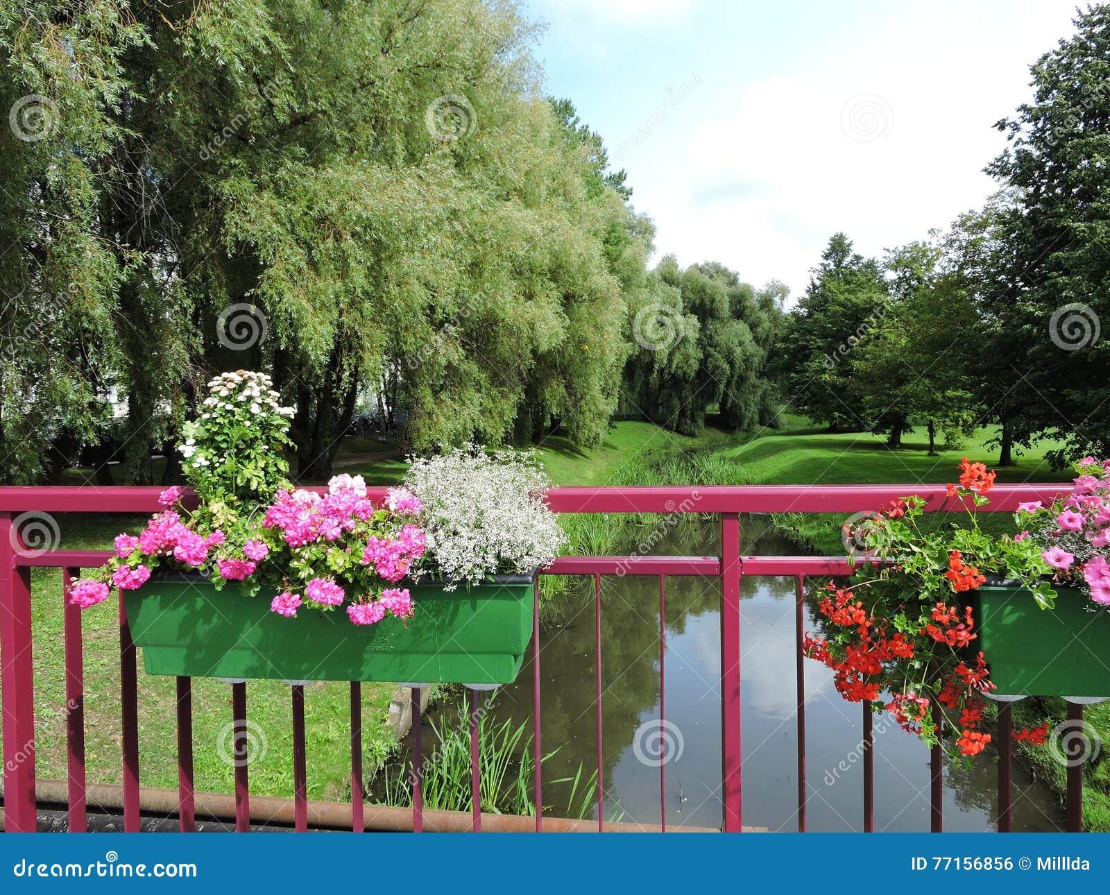 Balustrade et fleurs de pont