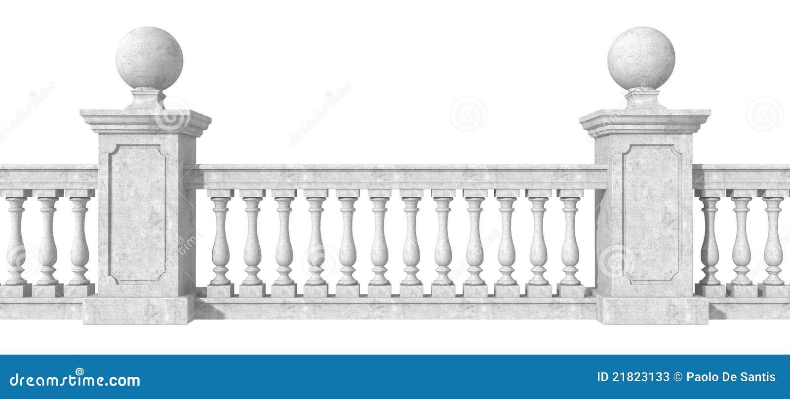 Balustrade op wit stock illustratie. afbeelding bestaande ui.