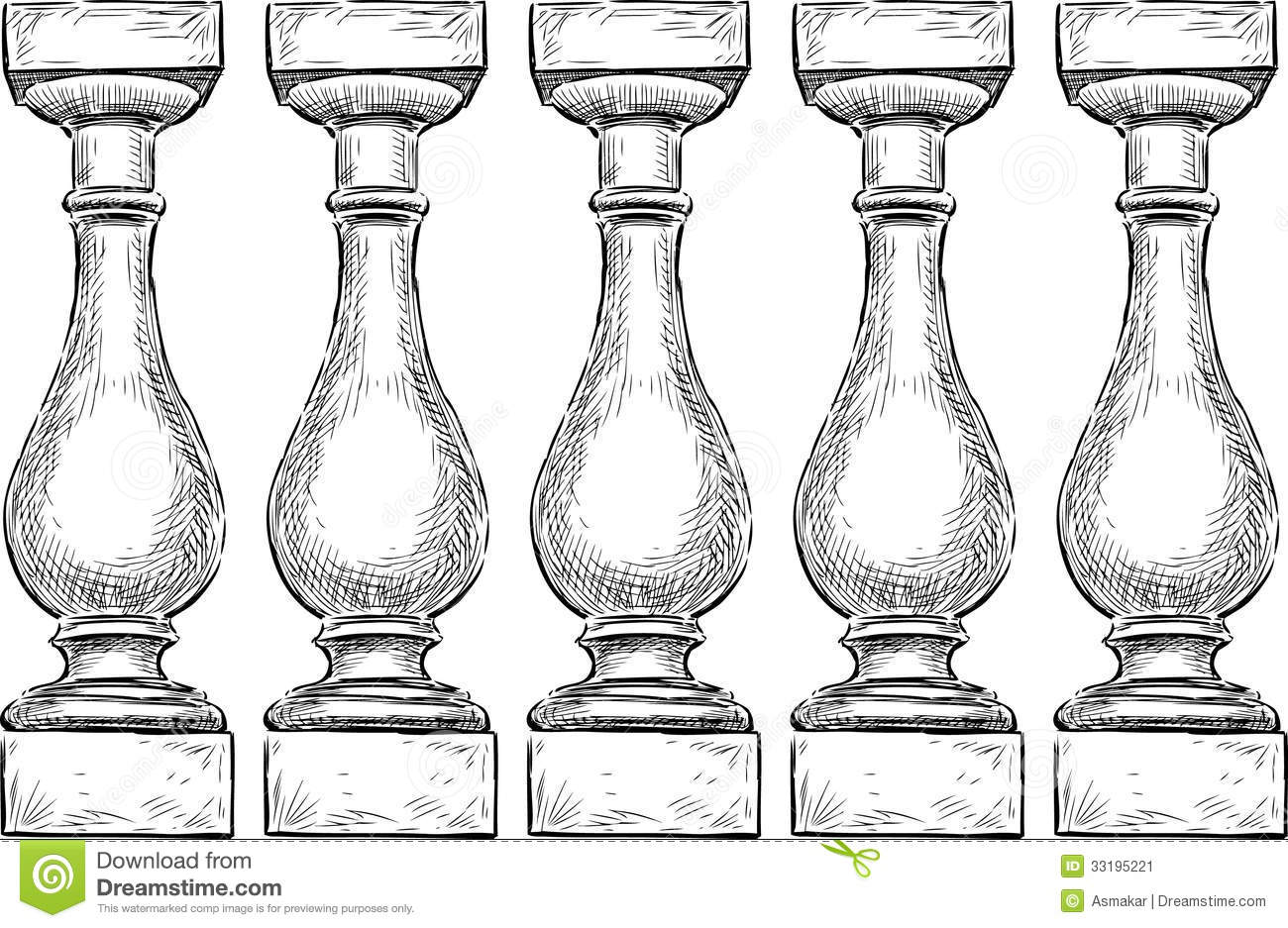 Balustrade Stock Vector Illustration Of Marble Isolated