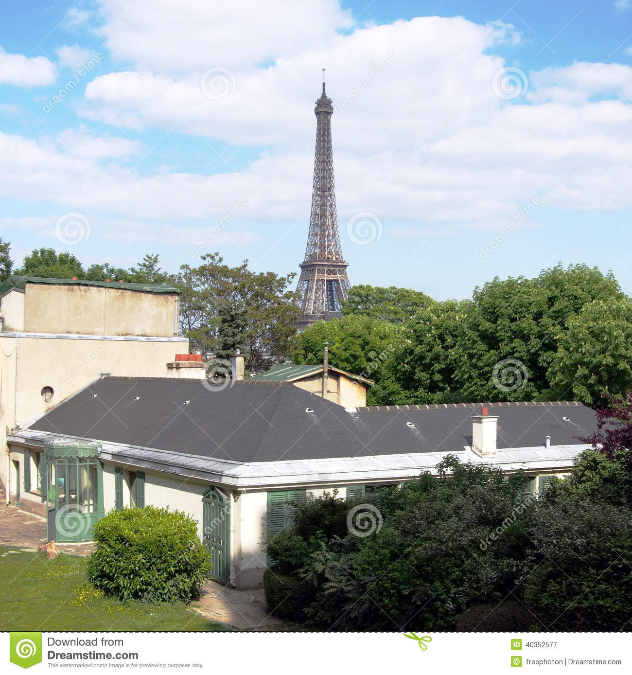 Balzac House And Eiffel Tower Paris Stock Image Image Of Paris