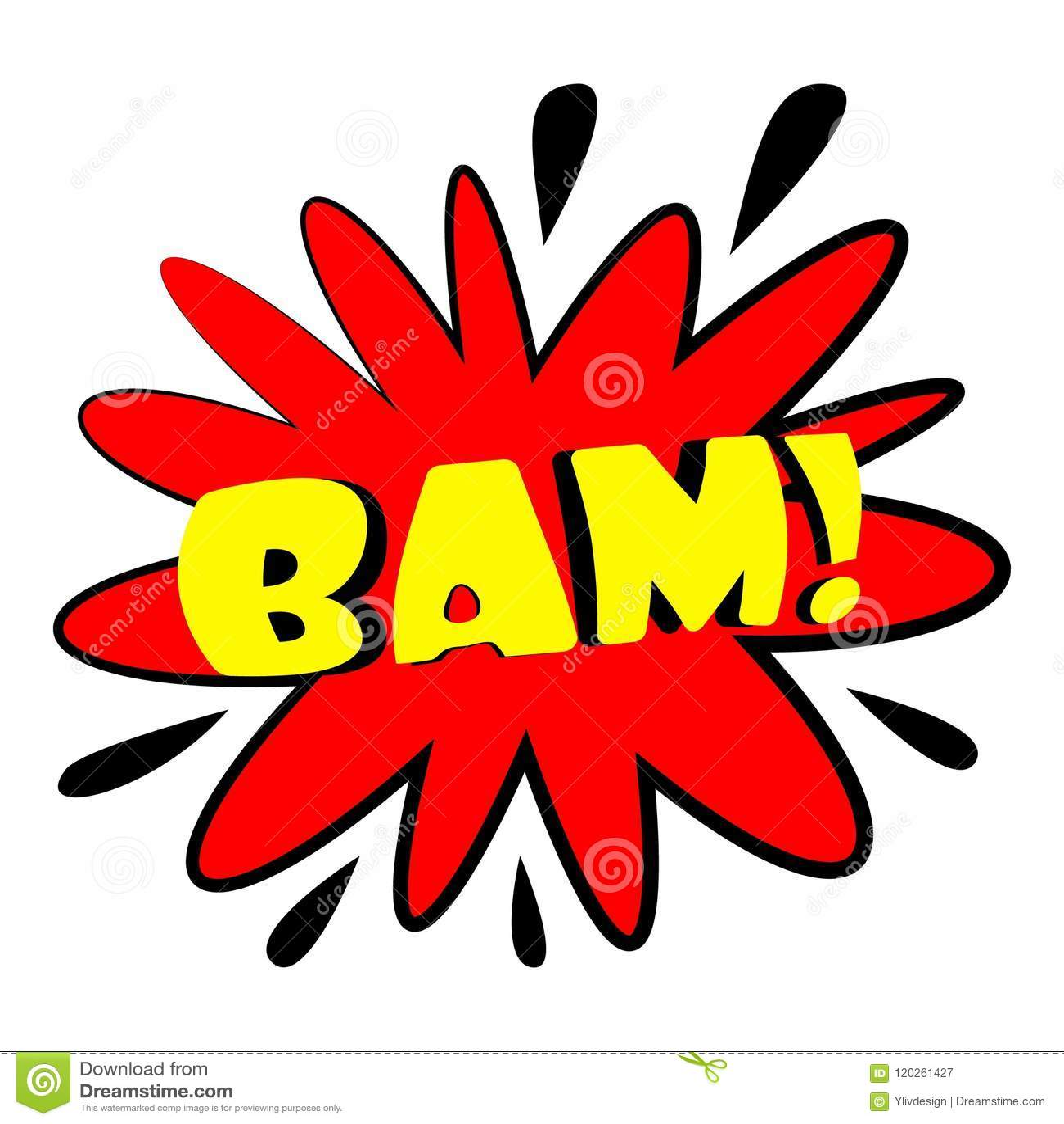 Bam Explosion Sound Effect Icon, Cartoon Style Stock Vector