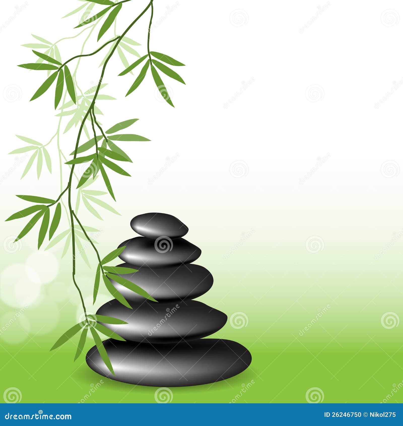 Bamb y piedras de las ramificaciones foto de archivo Fotos piedras zen