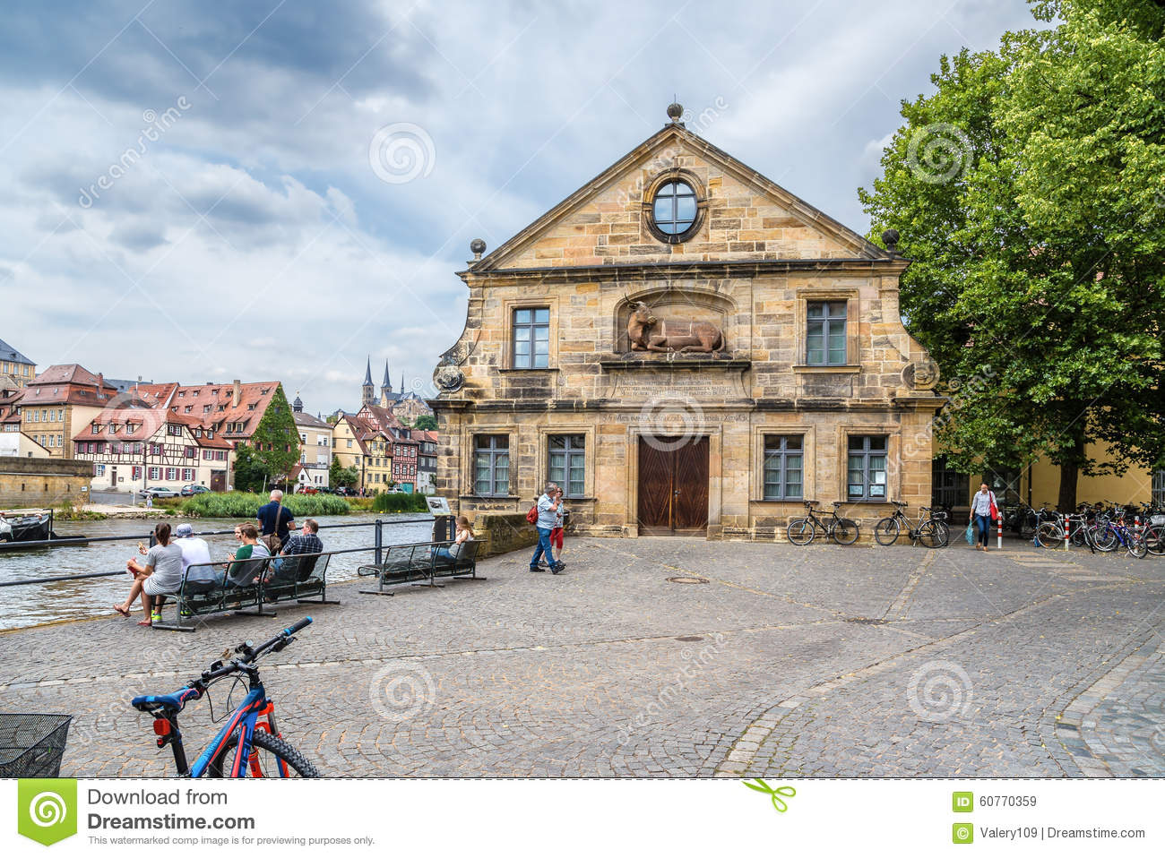 Bamberg, Germany. Facade of the Schlachte House - the old slaughterhouse (1741-42), located on the banks of the Regnitz