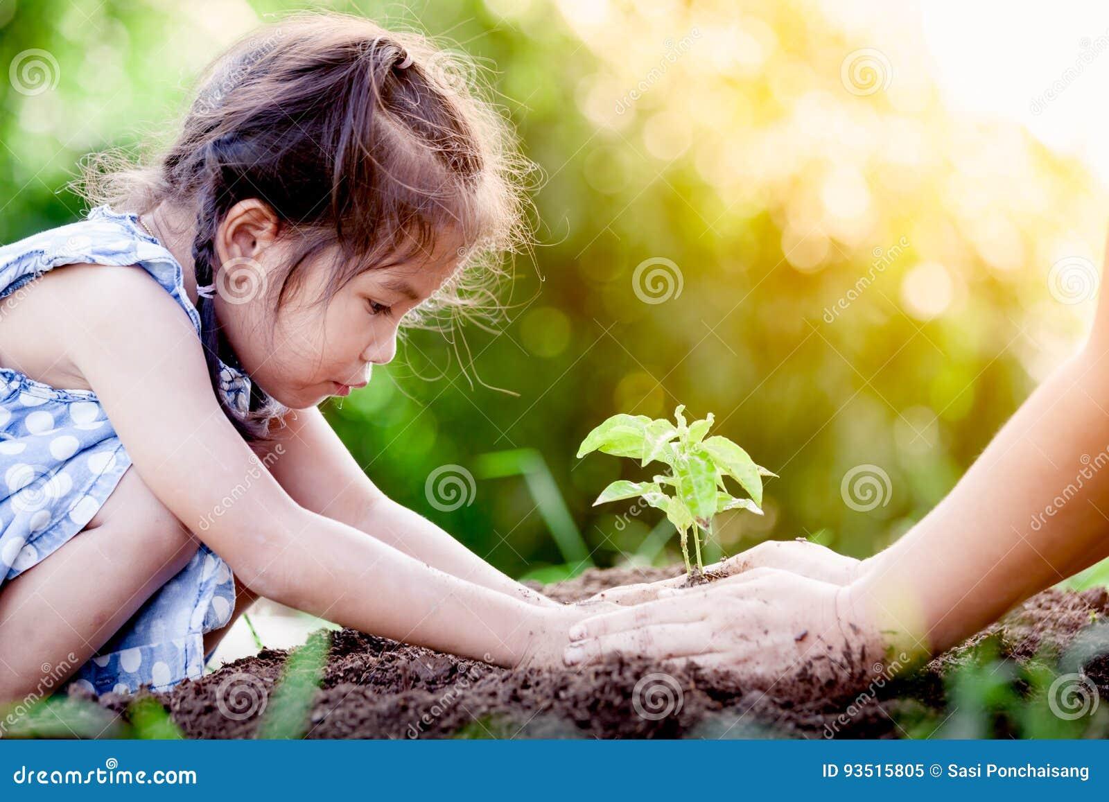 Bambina asiatica e genitore che piantano giovane albero su suolo nero