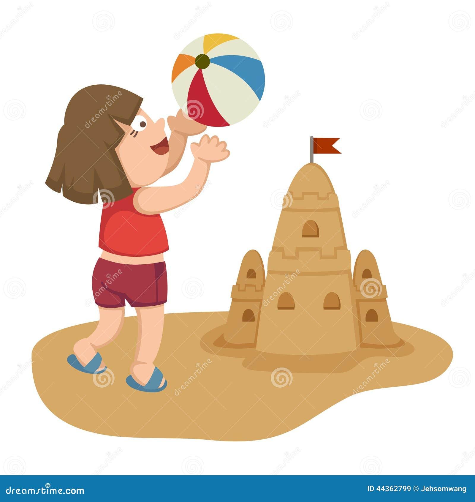 Bambina che gioca sulla spiaggia con la sfera