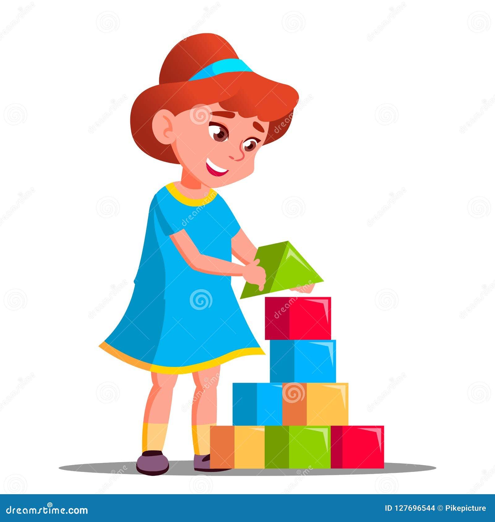 Bambina che gioca vettore in costruzione dei blocchi Illustrazione isolata
