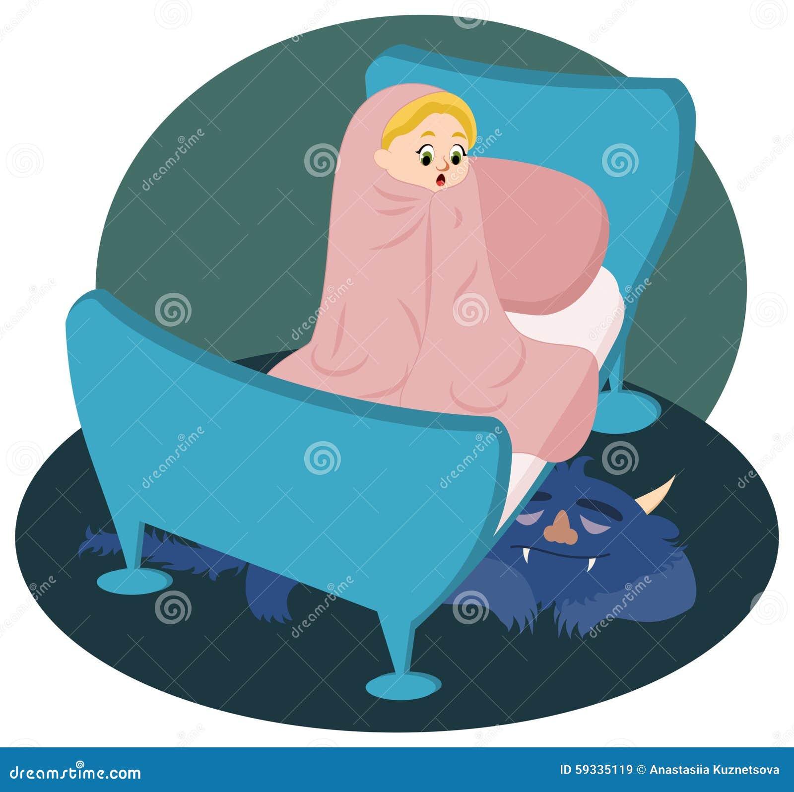 Bambina che guarda sul mostro addormentato sotto il letto