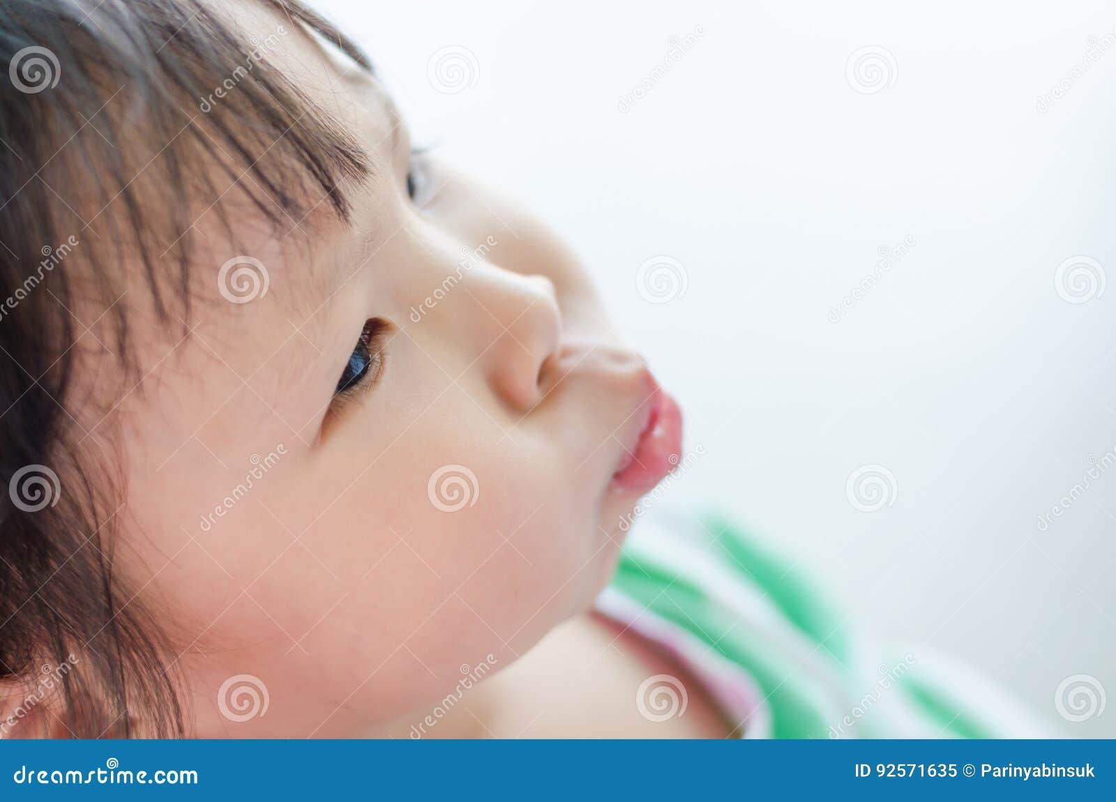 Bambina con il fronte lunatico