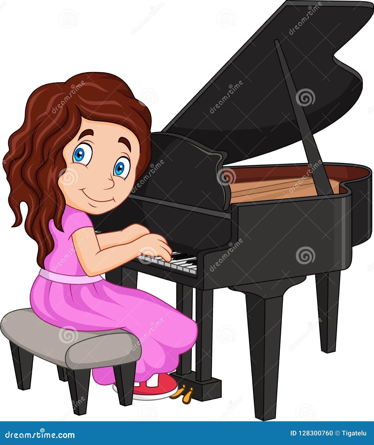 Bambina del fumetto che gioca piano