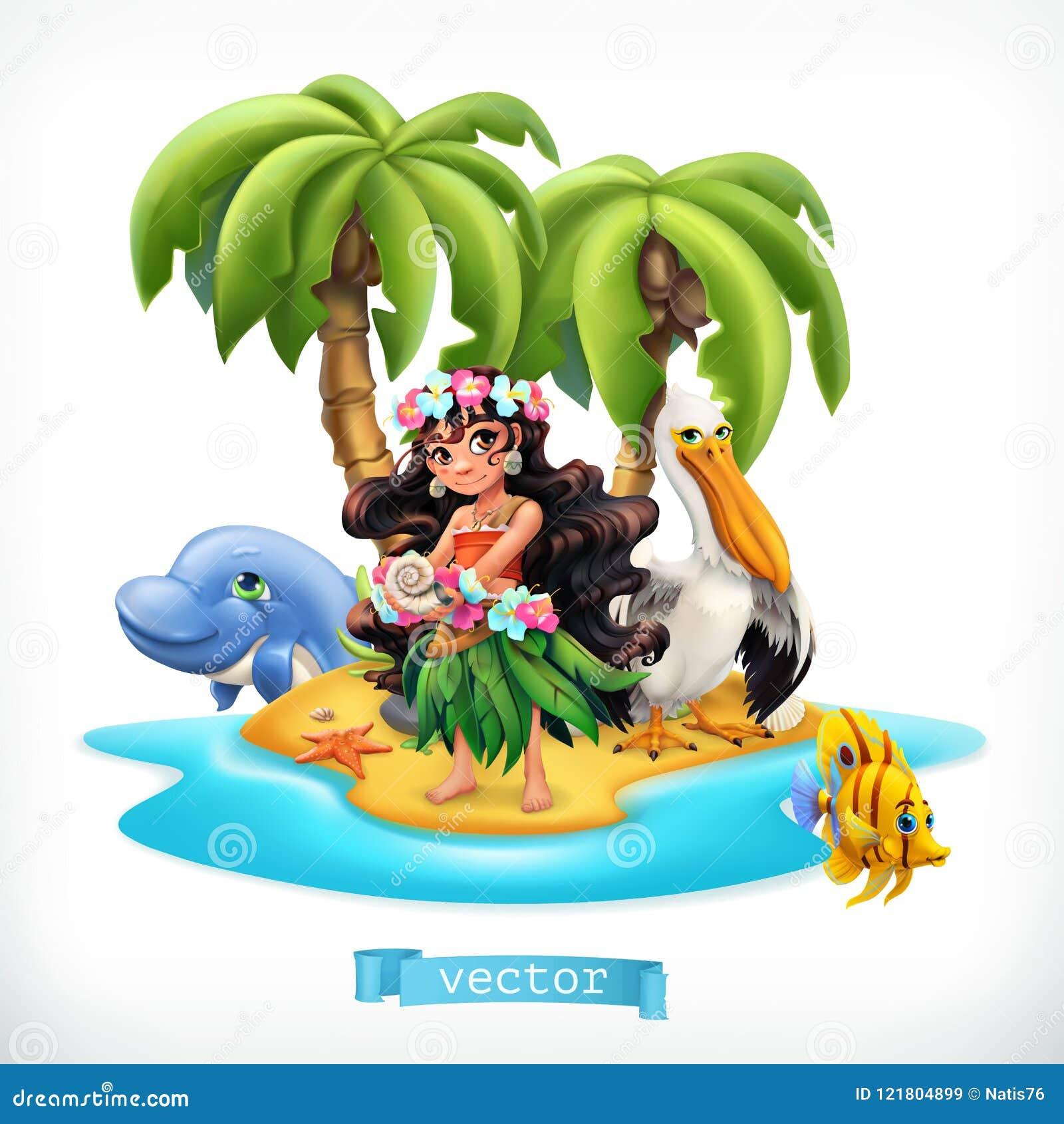 Bambina ed animali divertenti Icona tropicale di vettore dell isola