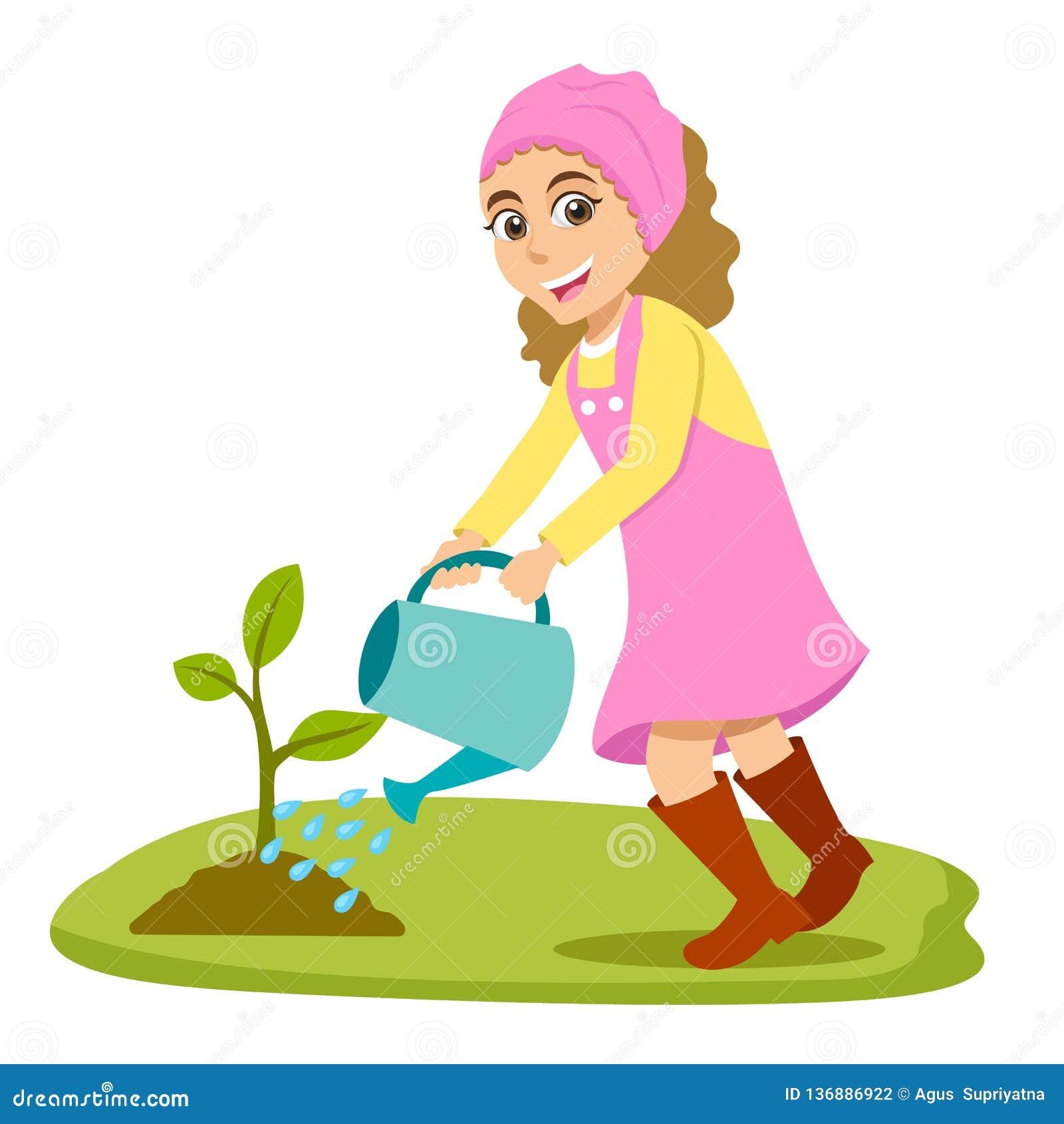Bambina sveglia del fumetto che innaffia un albero