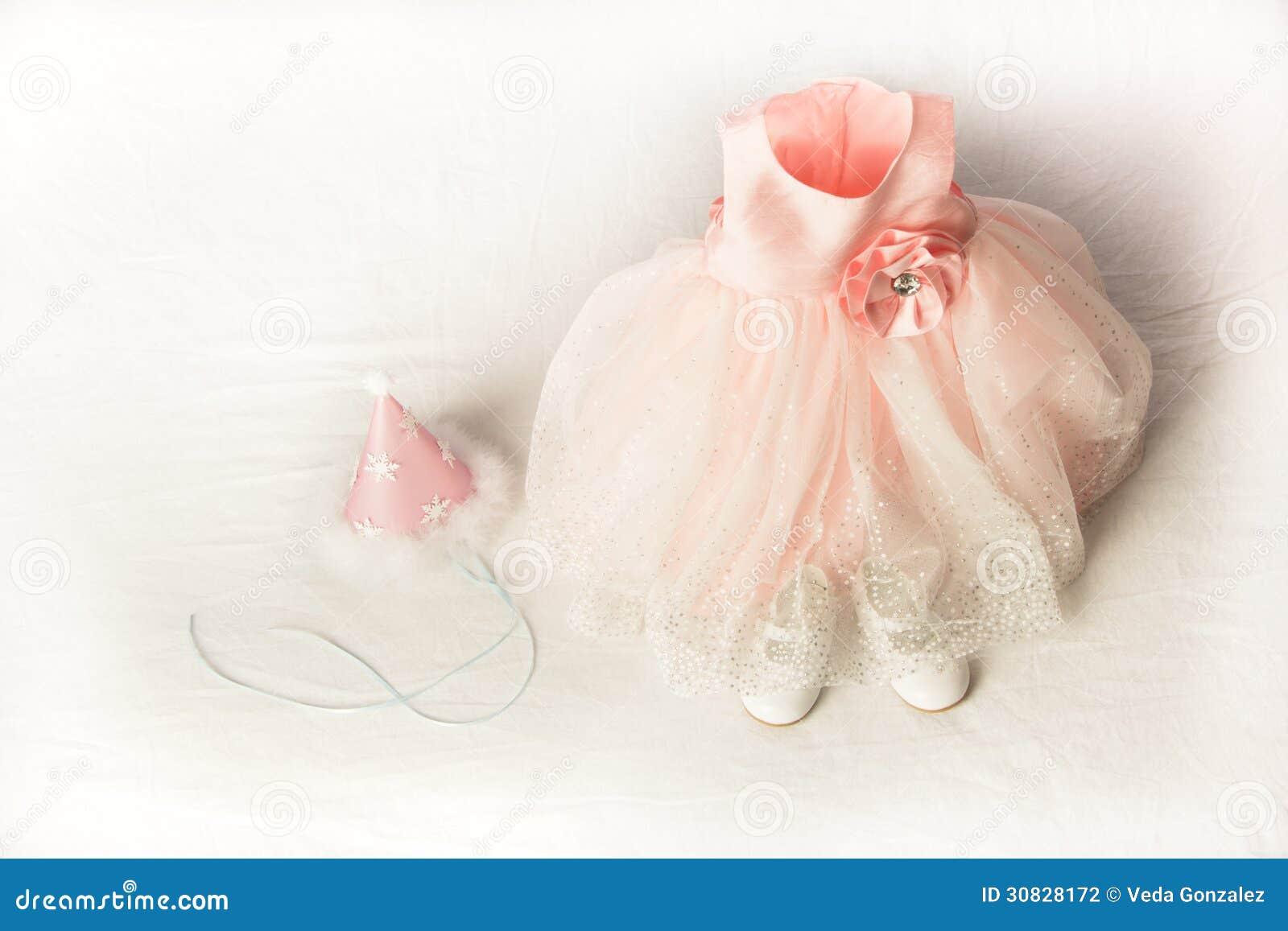 Bambini abito da sera, cappello e scarpe rosa