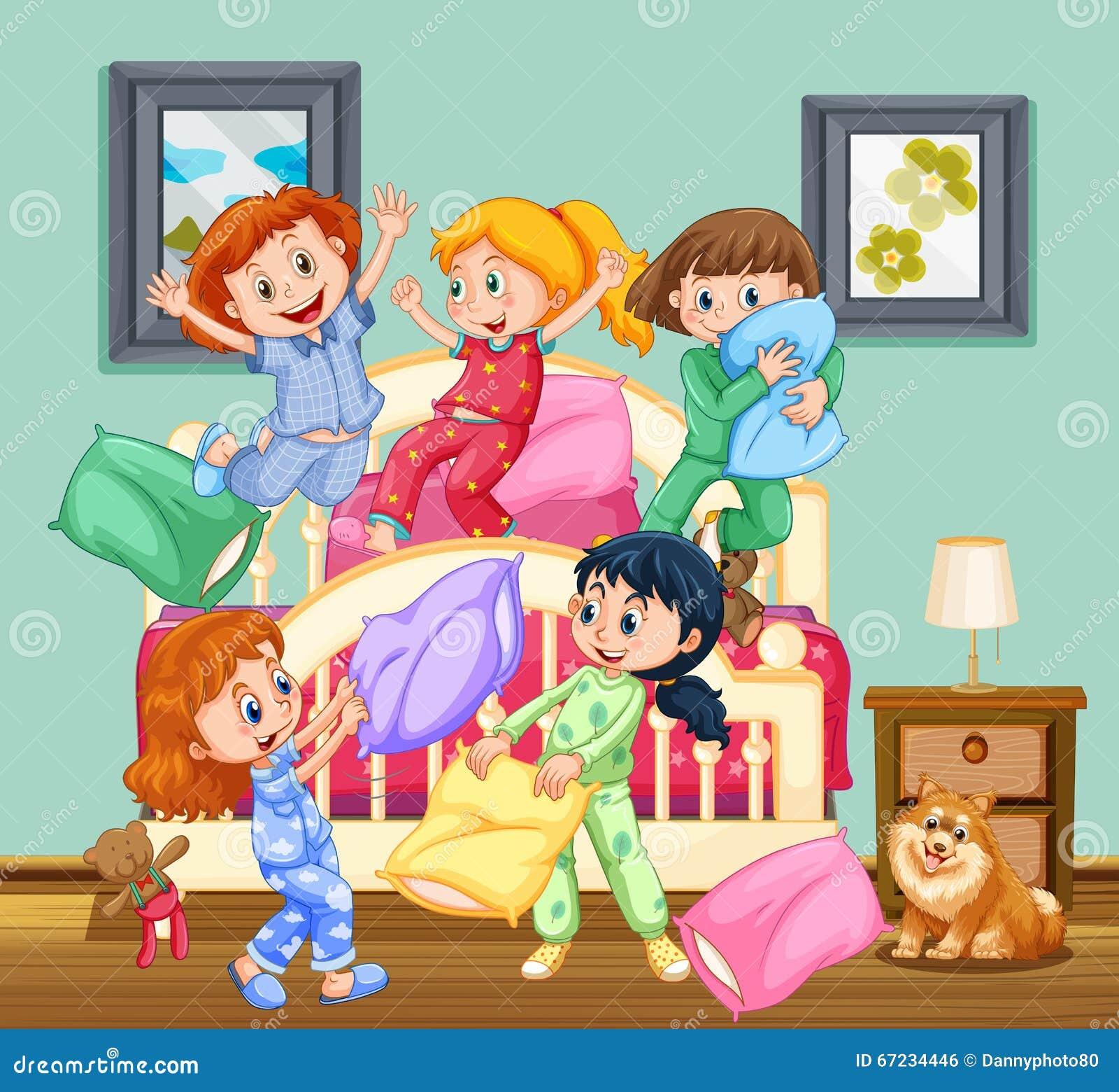 Favoloso Bambini al pigiama party illustrazione di stock. Immagine di  RU46