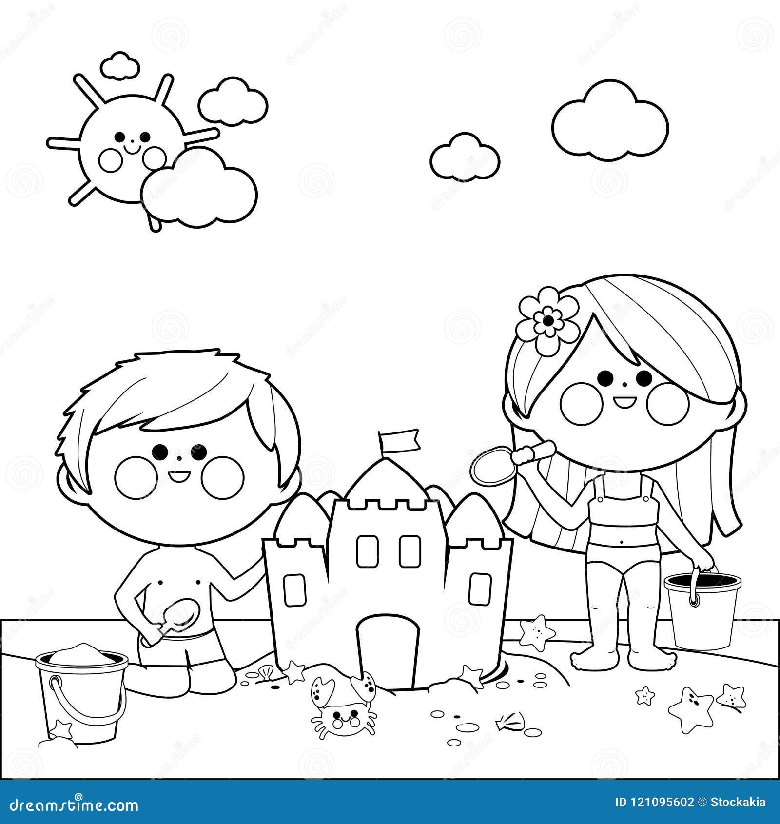 Bambini Alla Spiaggia Che Costruisce Un Castello Di Sabbia Pagina In