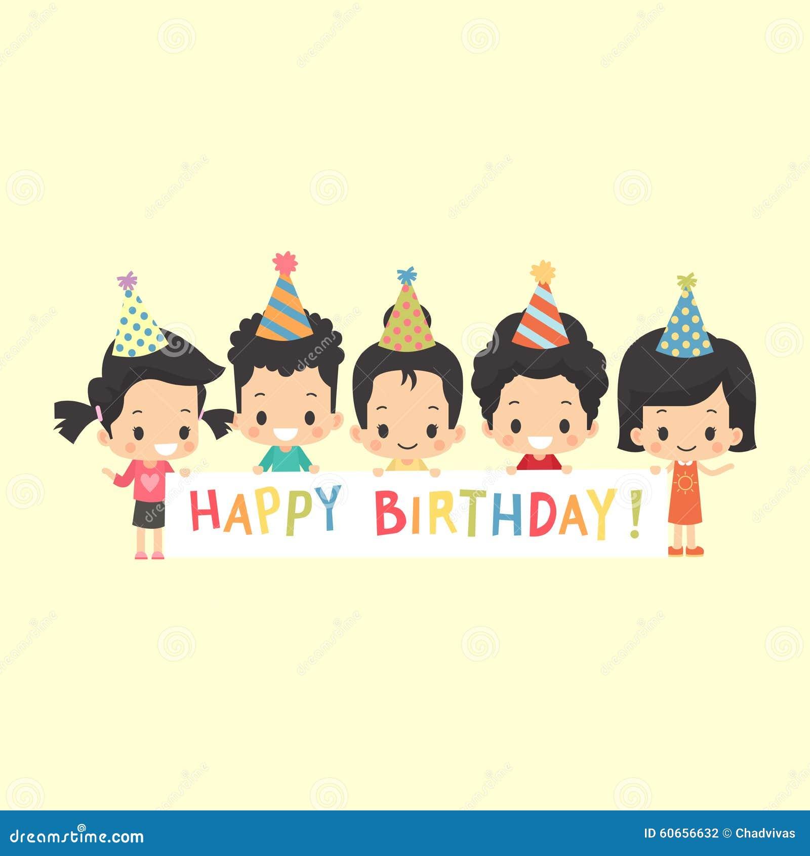 Bambini asiatici con l insegna di buon compleanno