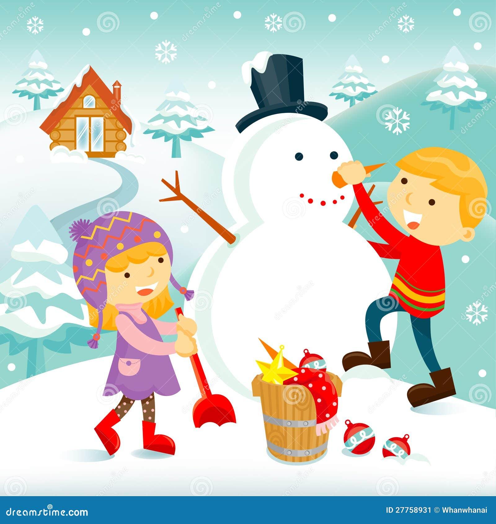 Bambini che costruiscono un pupazzo di neve immagine stock - Animali in inverno clipart ...