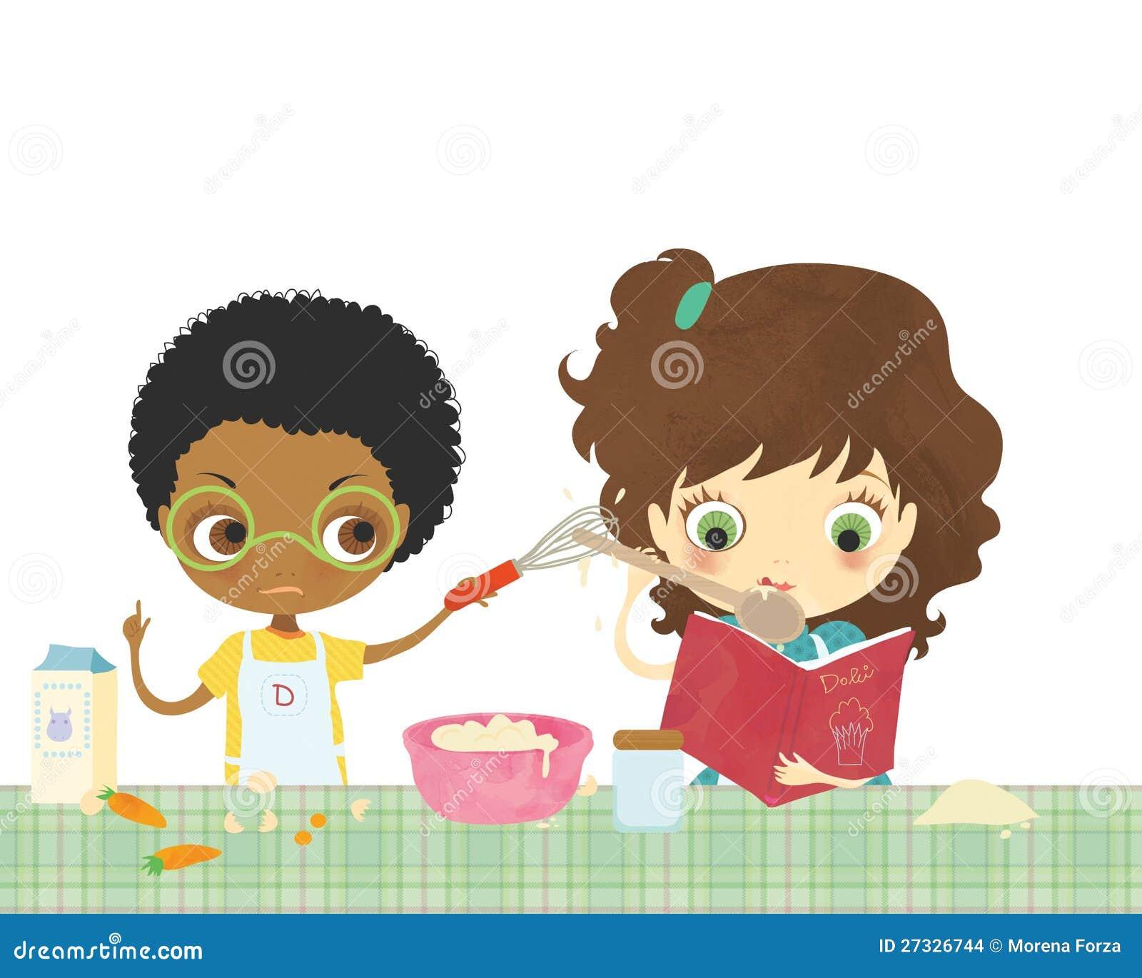 Bambini Che Cucinano Insieme Immagini Stock Immagine: 27326744 #9E2D34 1300 1130 Immagini Di Cucine Open Space