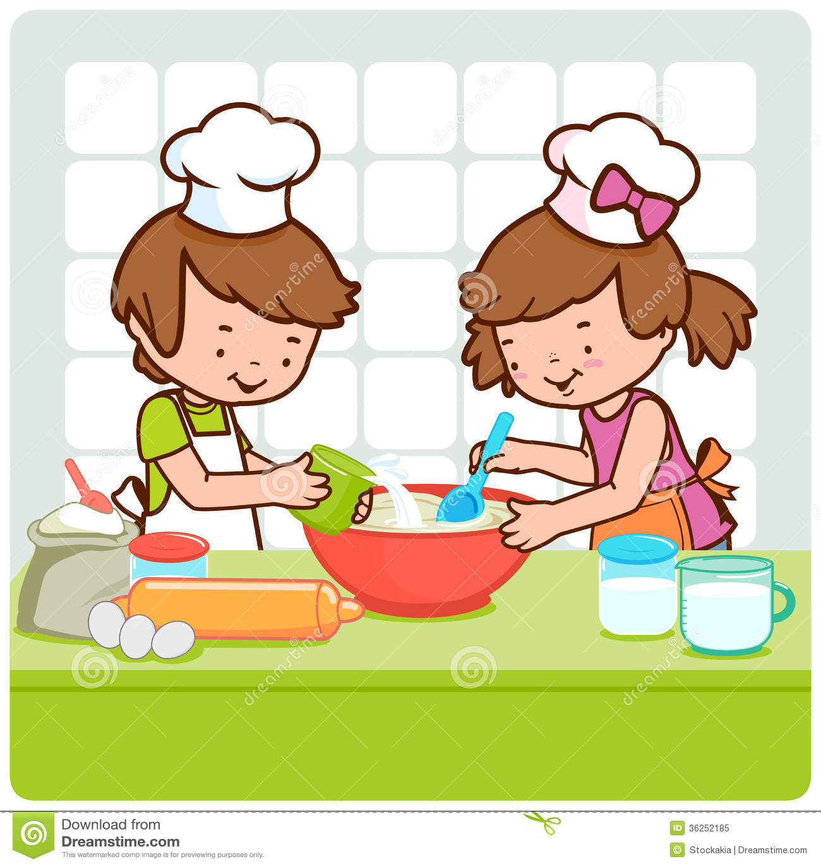 Bambini che cucinano nella cucina fotografia stock libera - Bambine che cucinano ...