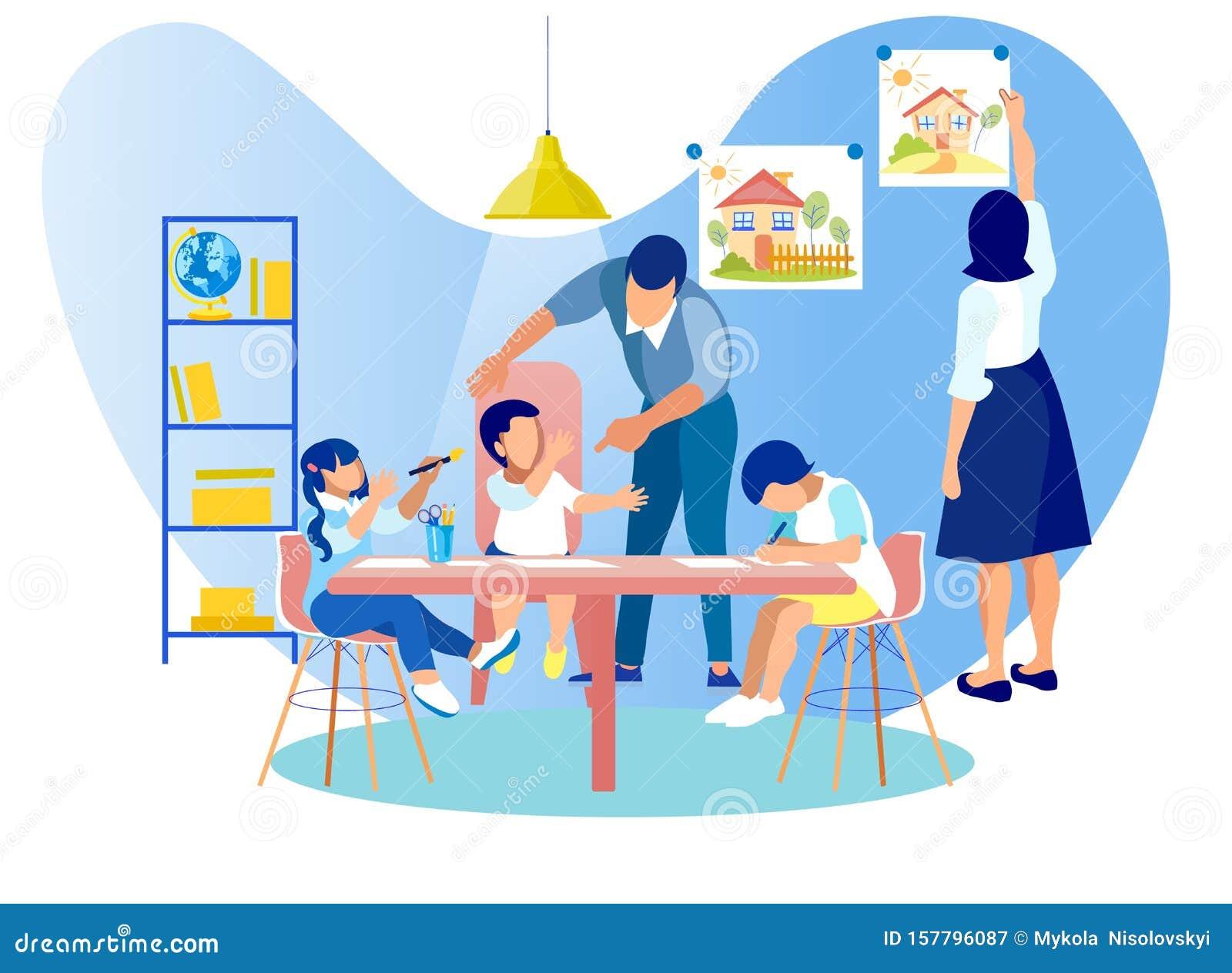Bambini Che Disegnano Seduti Al Tavolo In Asilo Illustrazione Di Stock Illustrazione Di Mestiere Appendere 157796087