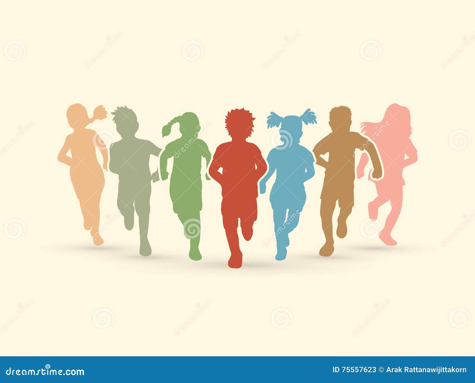 Disegno Di Bambino Che Corre : Bambini che eseguono una corsa nella regione selvaggia illustrazione