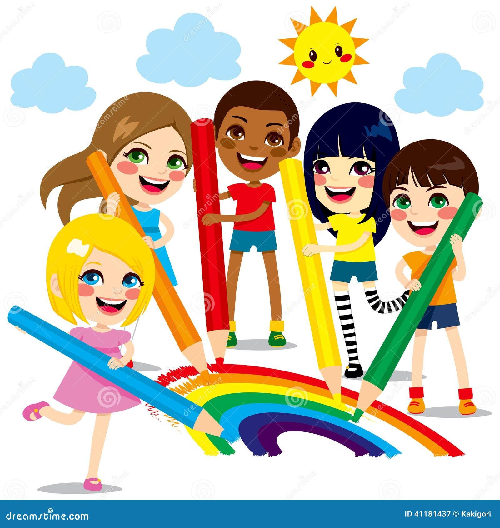 Bambini che estraggono arcobaleno illustrazione vettoriale - Immagini di cicogne che portano bambini ...