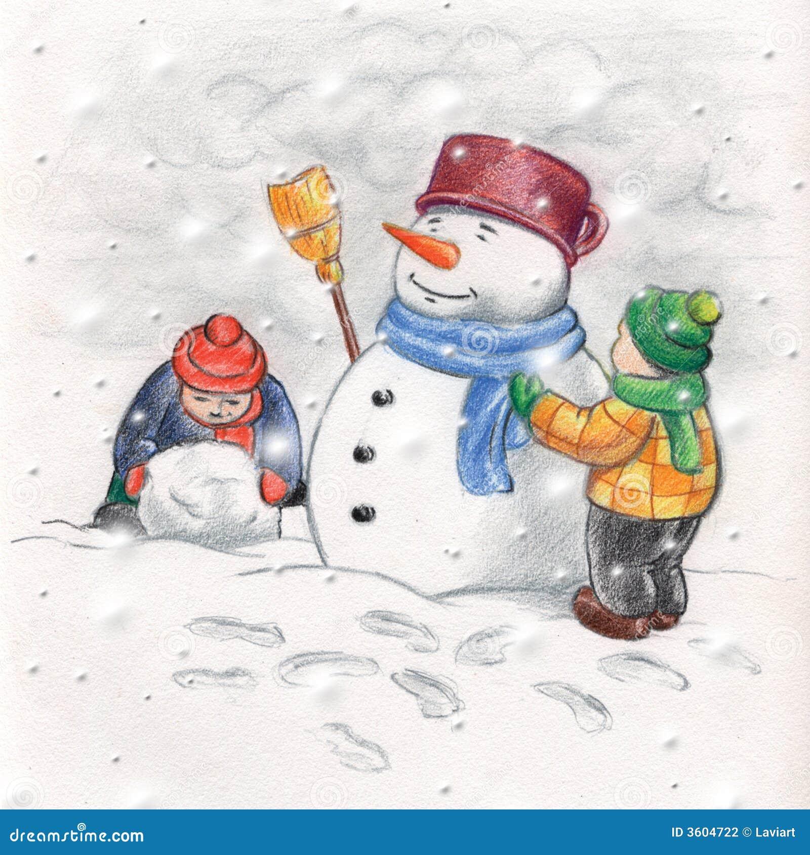 Bambini che fanno un pupazzo di neve
