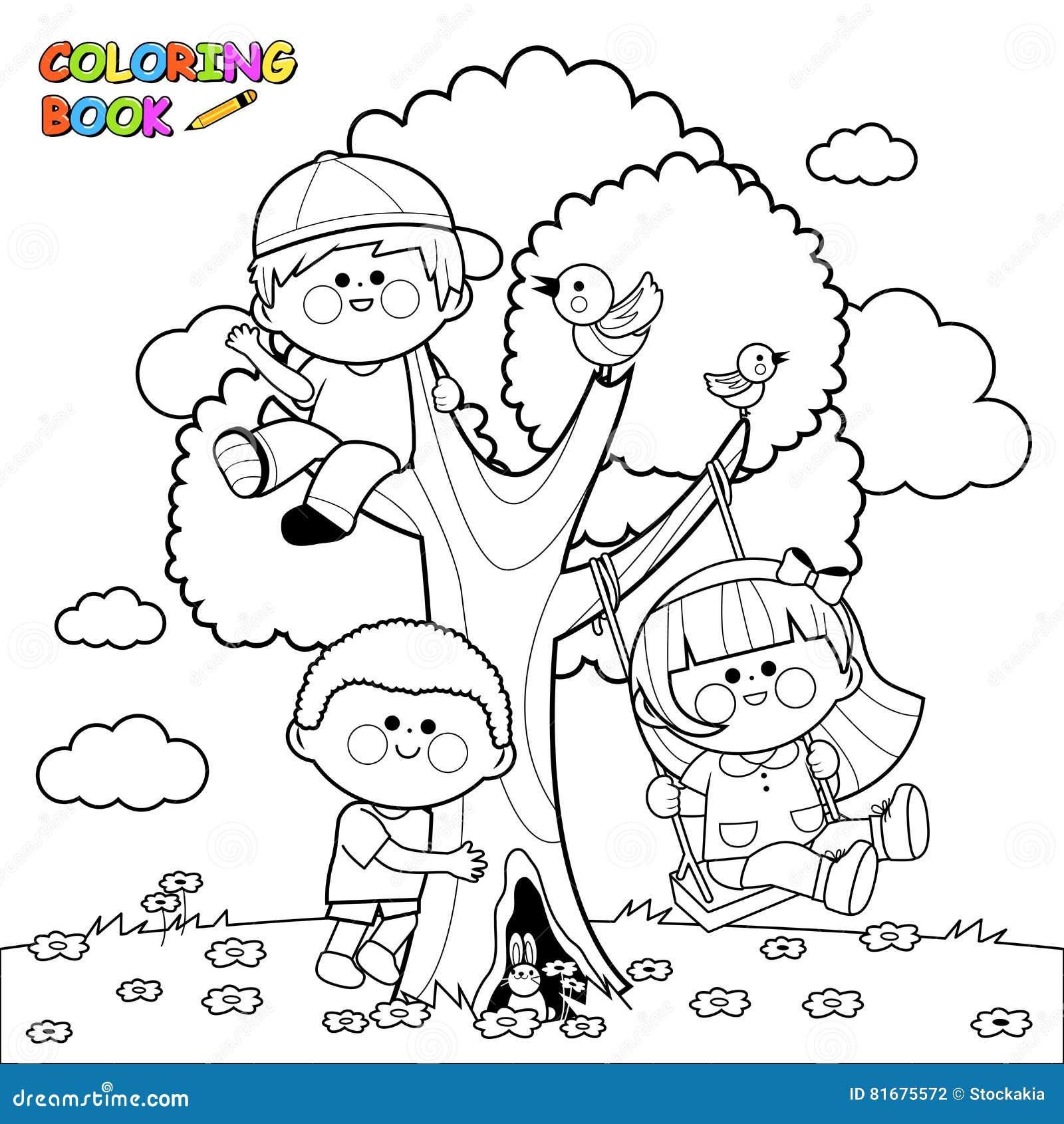 Bambini Che Giocano Ad Una Pagina Del Libro Da Colorare Dell