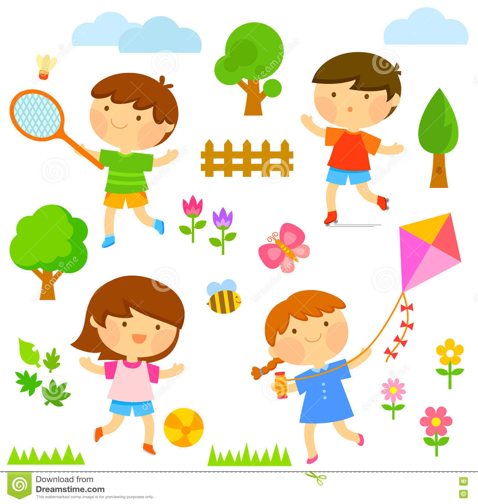 Bambini Che Giocano Allesterno Illustrazione Vettoriale