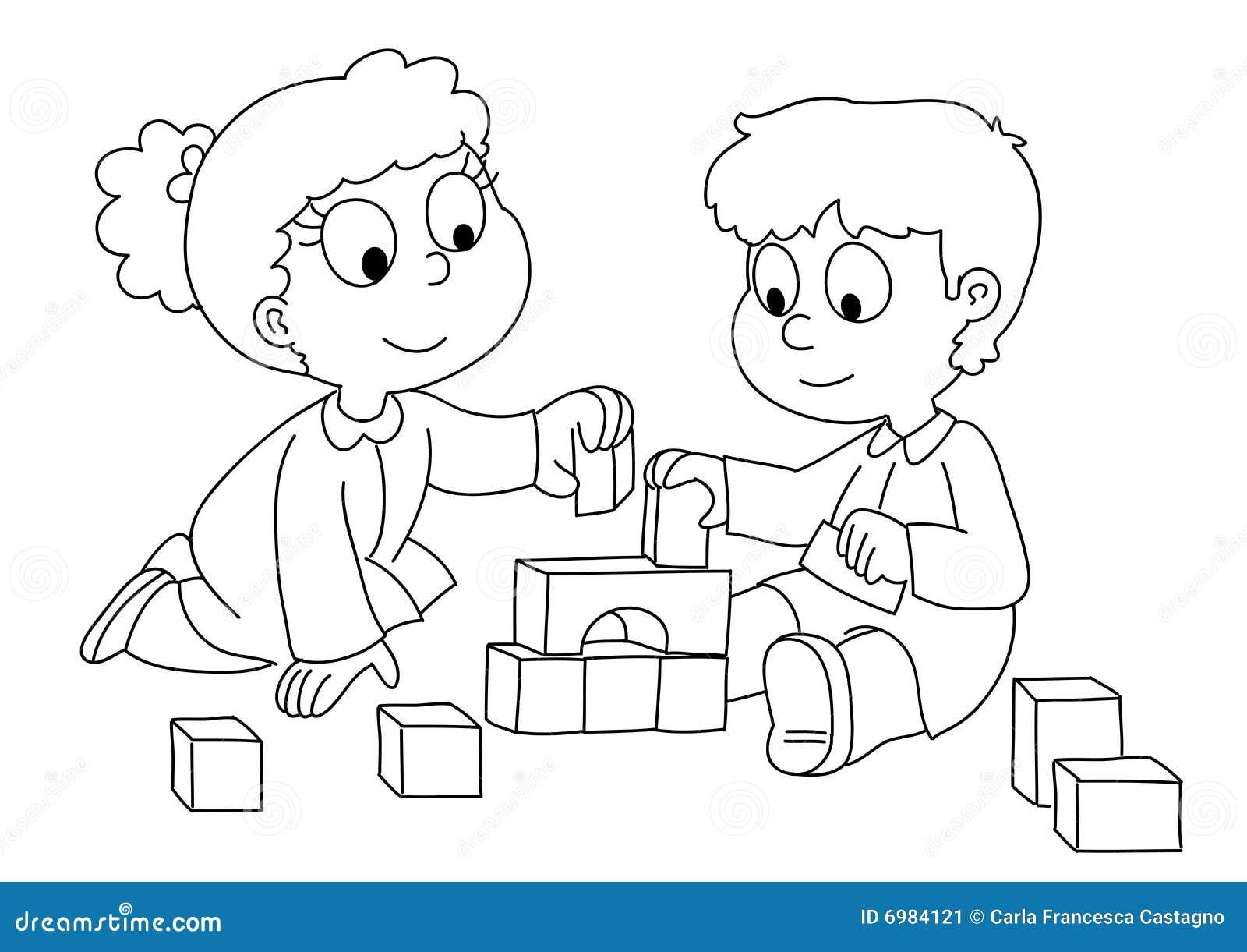Bambini che giocano bw illustrazione vettoriale - Cane da colorare le pagine libero ...