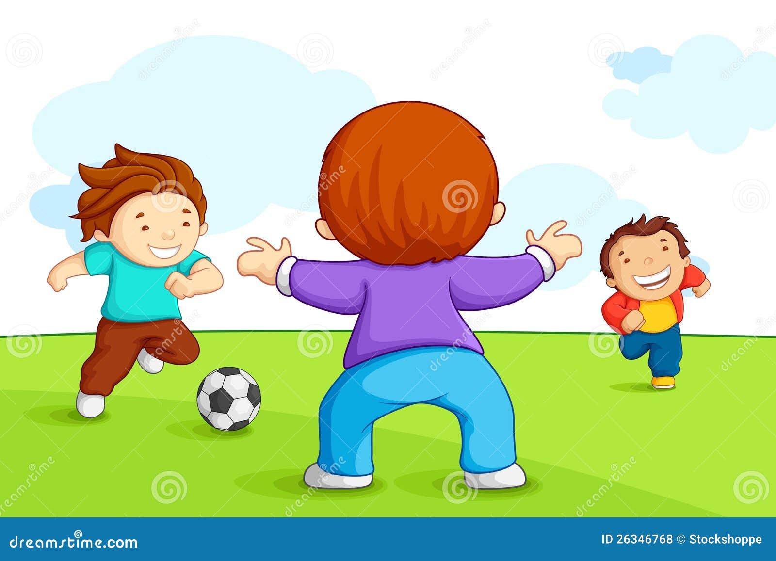 Bambini Che Giocano Calcio Illustrazione Vettoriale Illustrazione