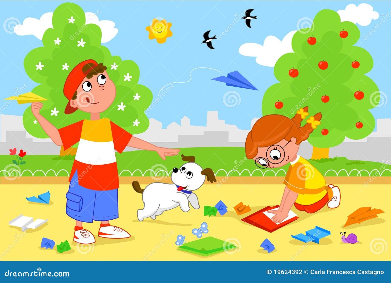 Bambini Che Giocano Con Gli Aeroplani Di Carta Illustrazione