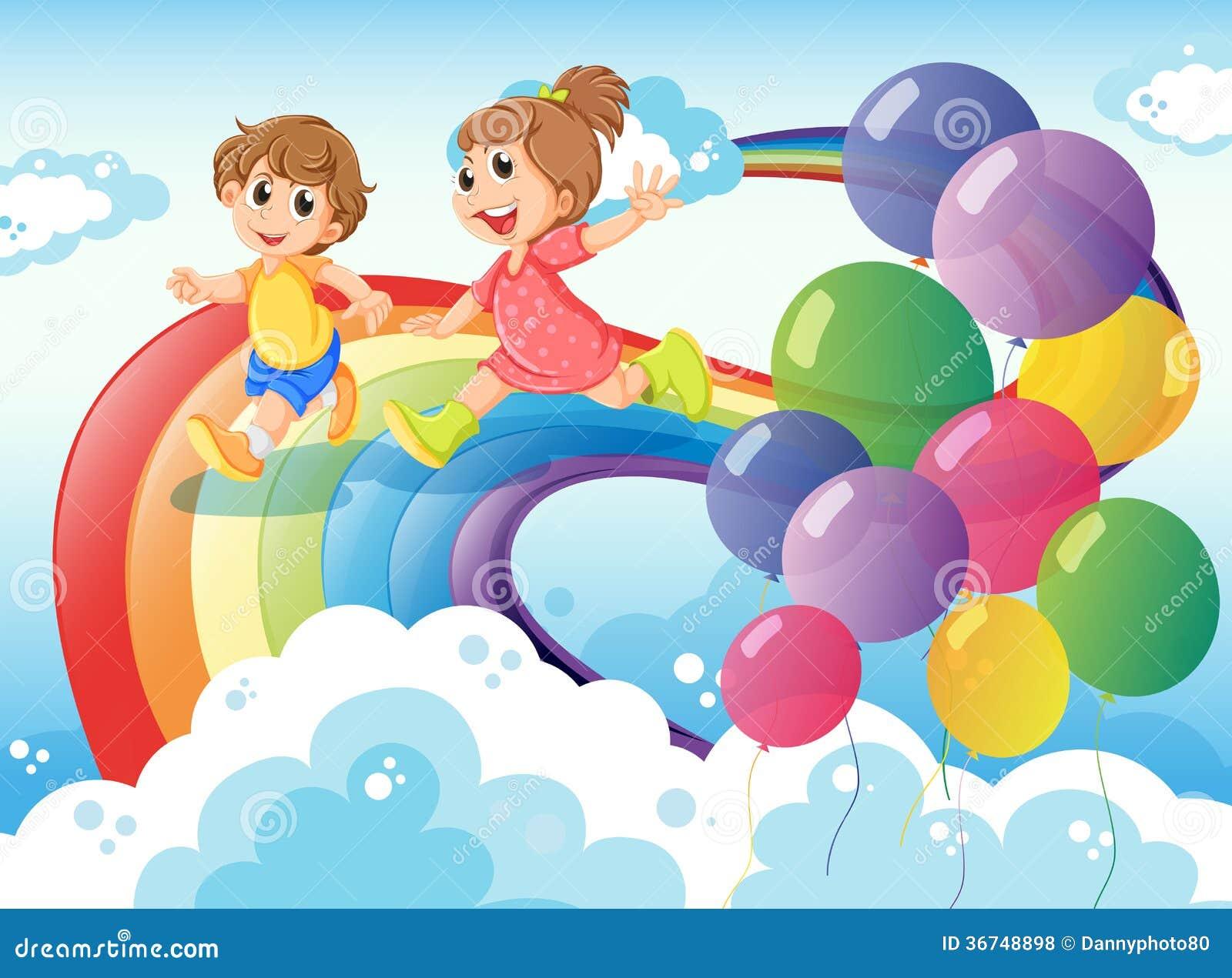 Bambini che giocano con l 39 arcobaleno nel cielo for Arcobaleno da colorare per bambini
