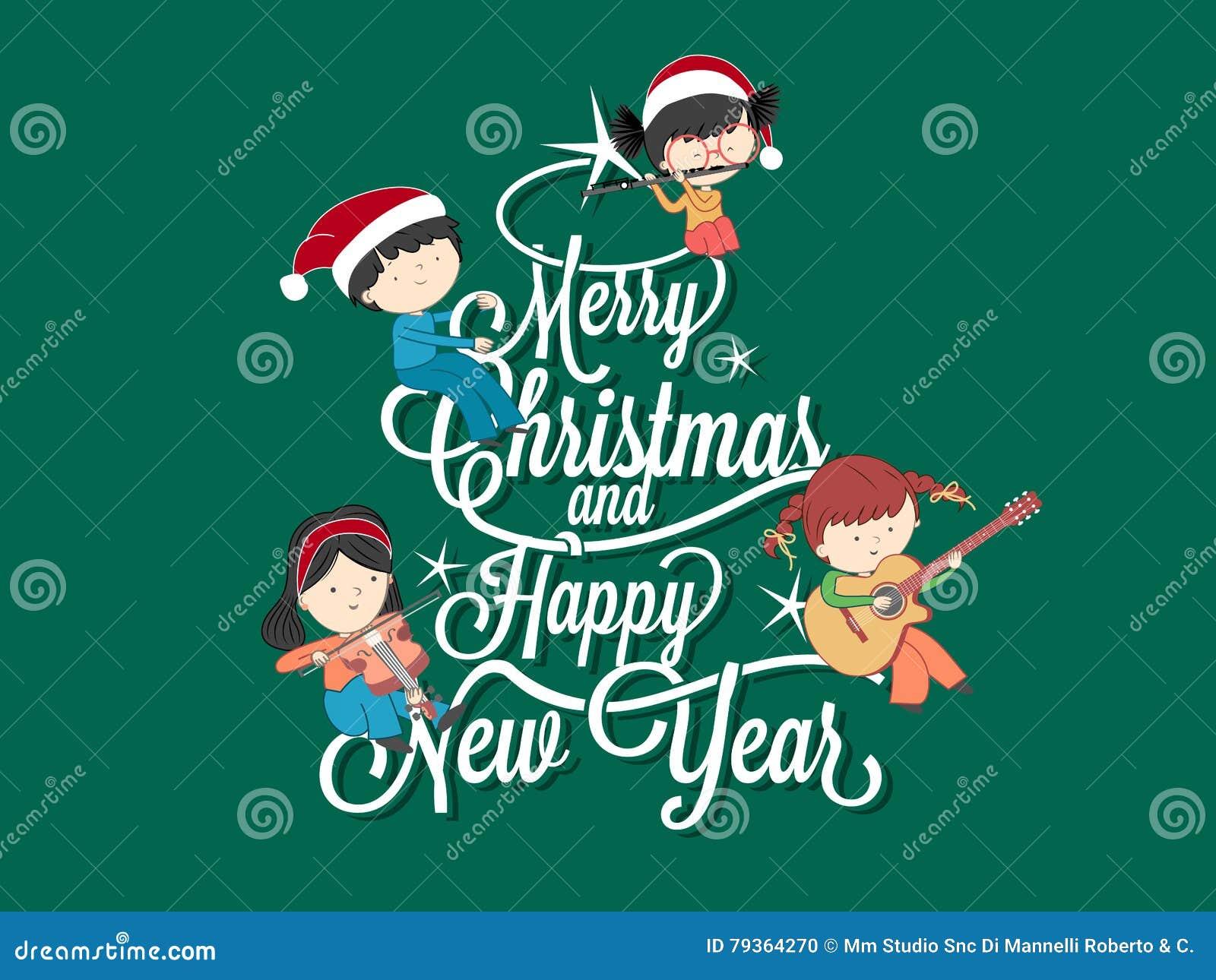 Buon Natale Per Bambini.Bambini Che Giocano Musica Sull Albero Di Buon Natale Illustrazione