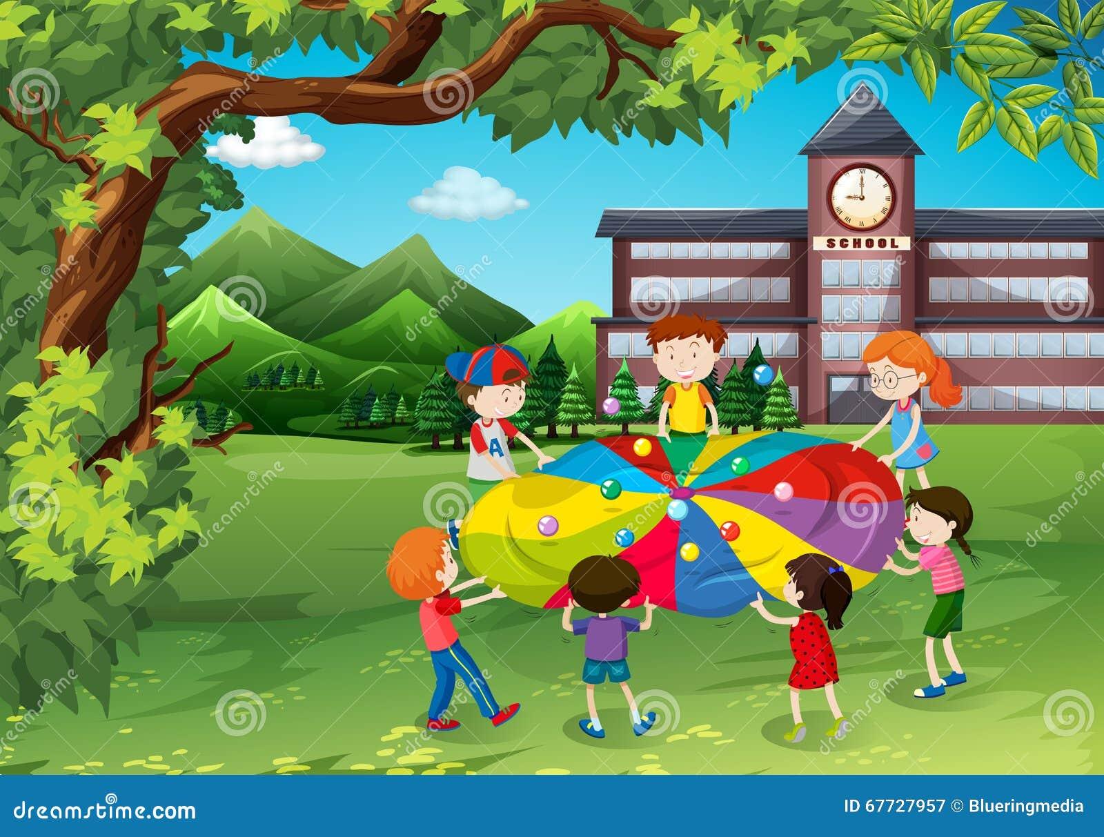 Bambini che giocano nel cortile della scuola illustrazione - Nel bagno della scuola ...
