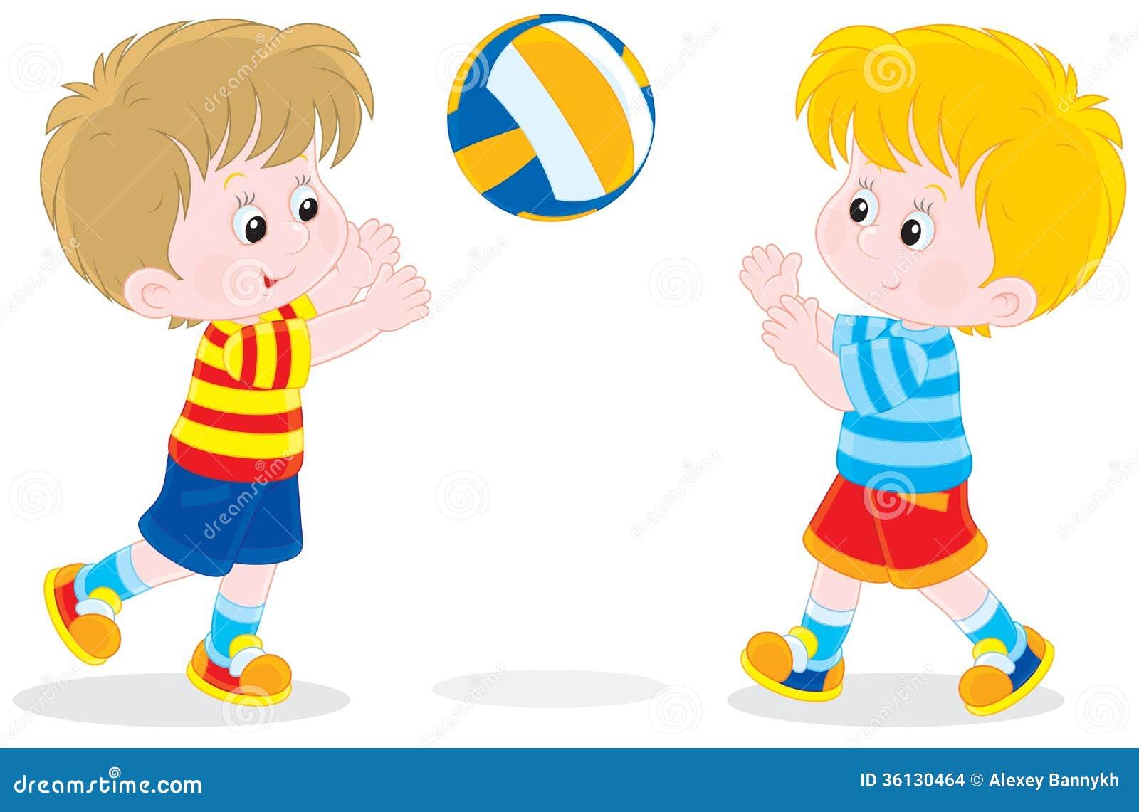 Bambini Che Giocano Pallavolo Illustrazione Vettoriale ...