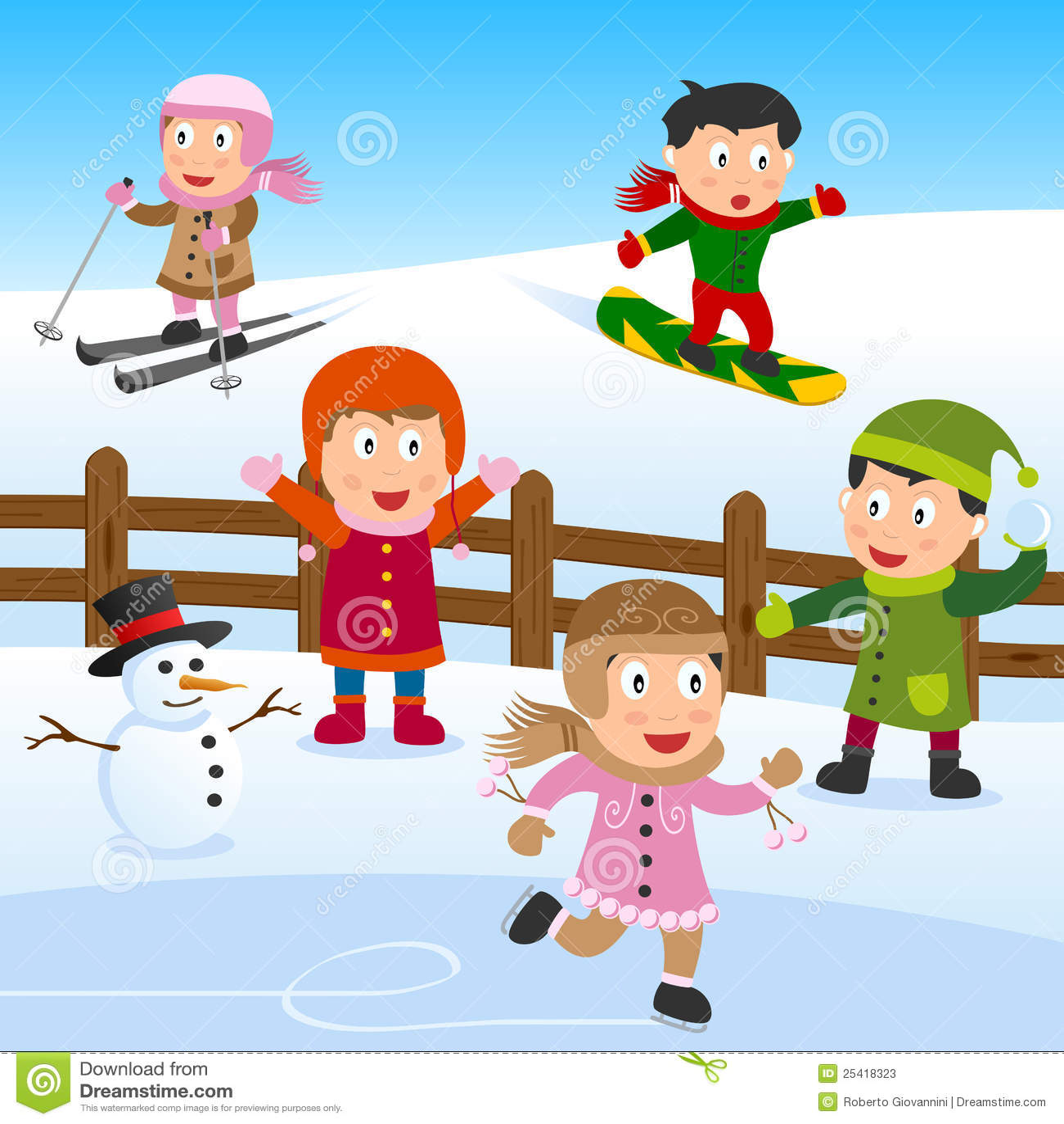 Un gruppo di bambini che giocano sulla neve. archivio di env
