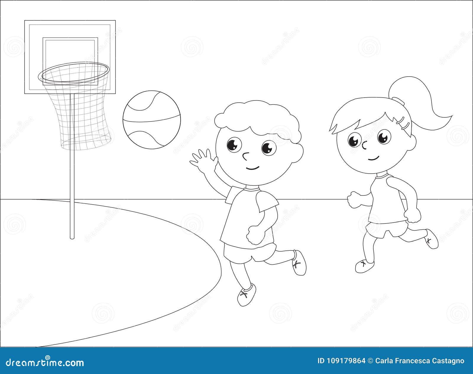 Bambini Che Giocano Vettore In Bianco E Nero Di Pallacanestro