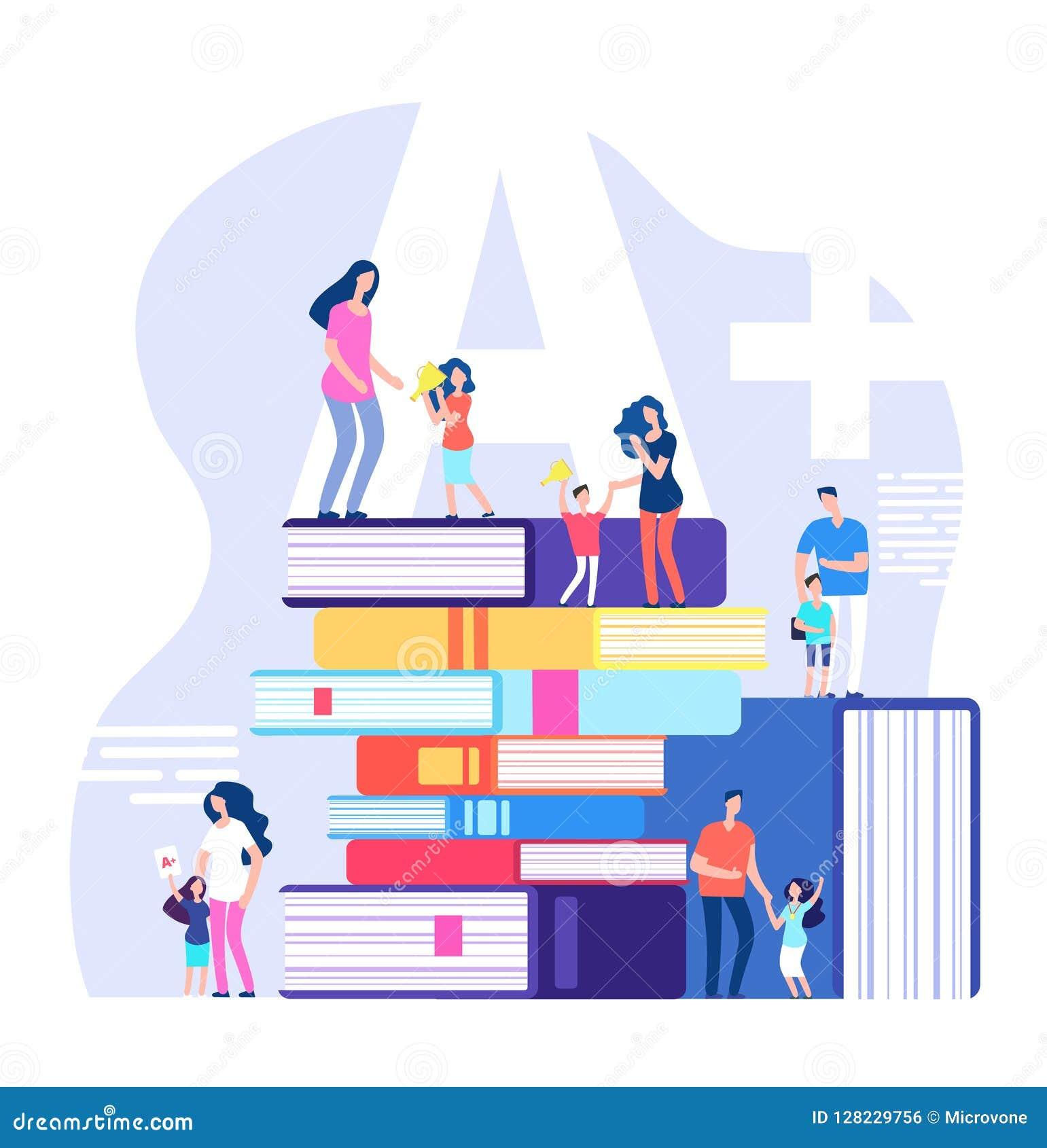 Bambini che imparano concetto Allievi eccellenti, elogiando i genitori e gli insegnanti con i libri enormi Vettore di istruzione