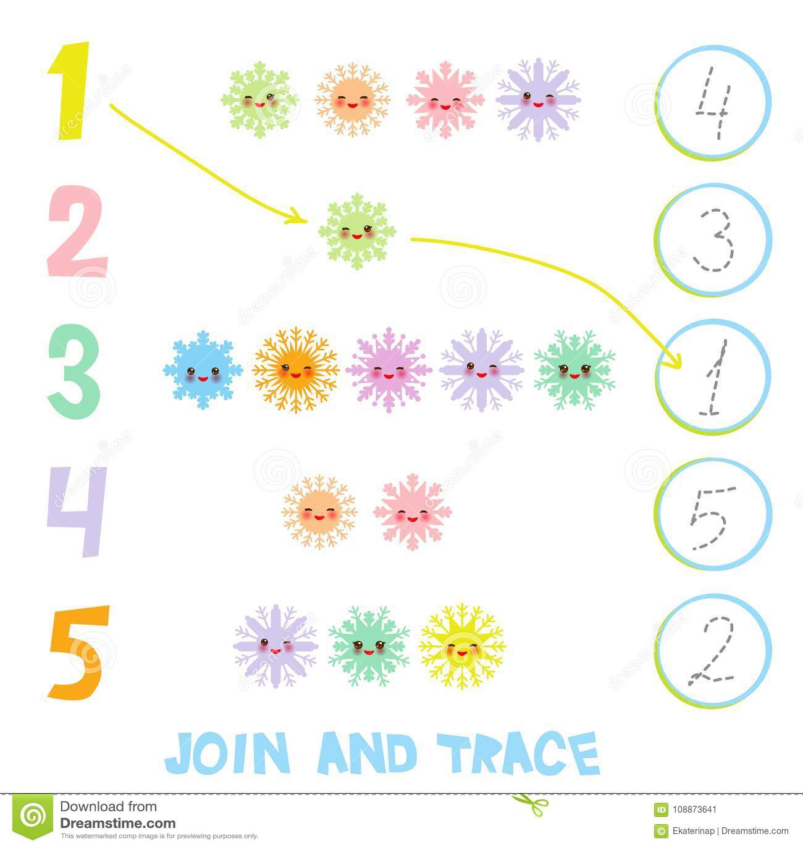 Bambini che imparano i materiali 1 - 5 di numero Unire e traccia Illustrazione di istruzione che conta gioco per i bambini in età